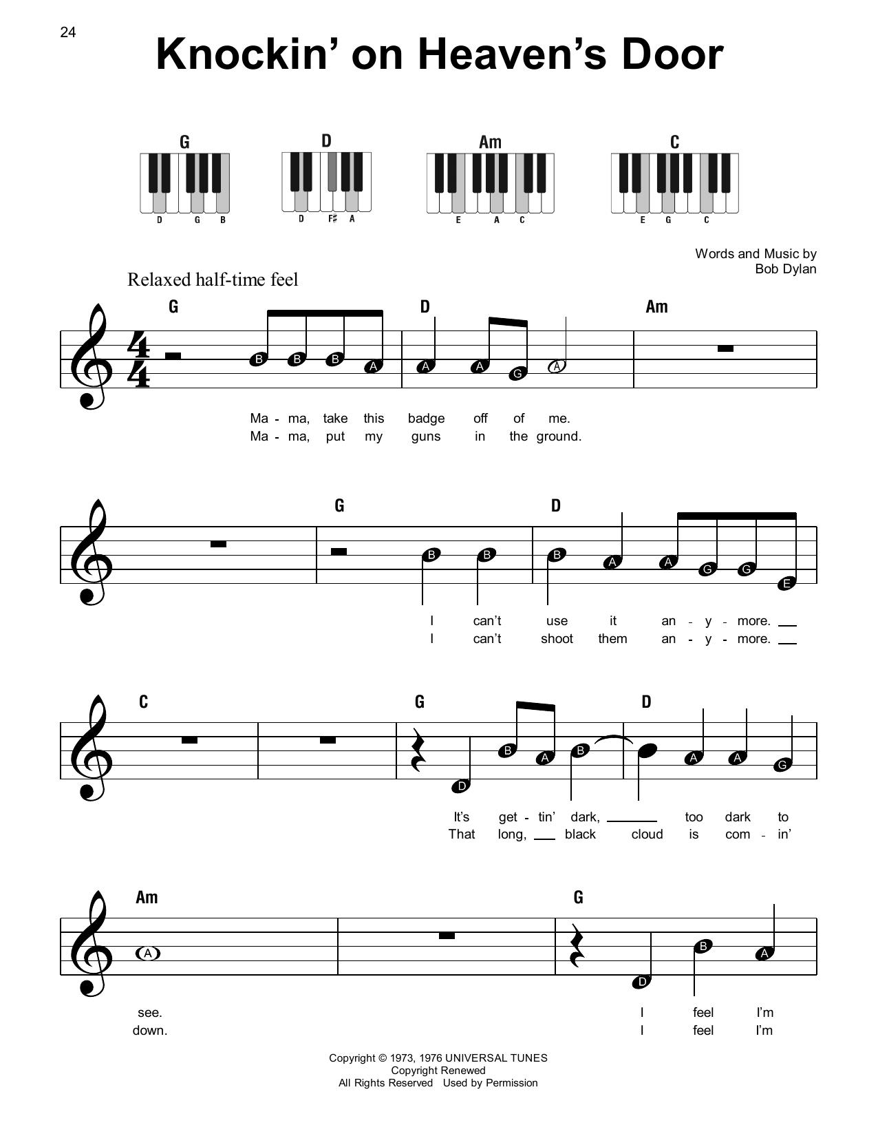 Knockin' On Heaven's Door Sheet Music