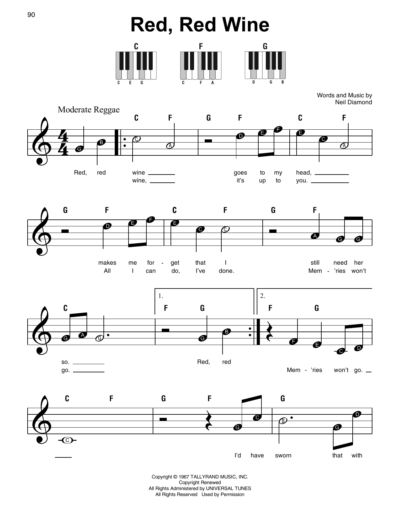 Red, Red Wine Sheet Music