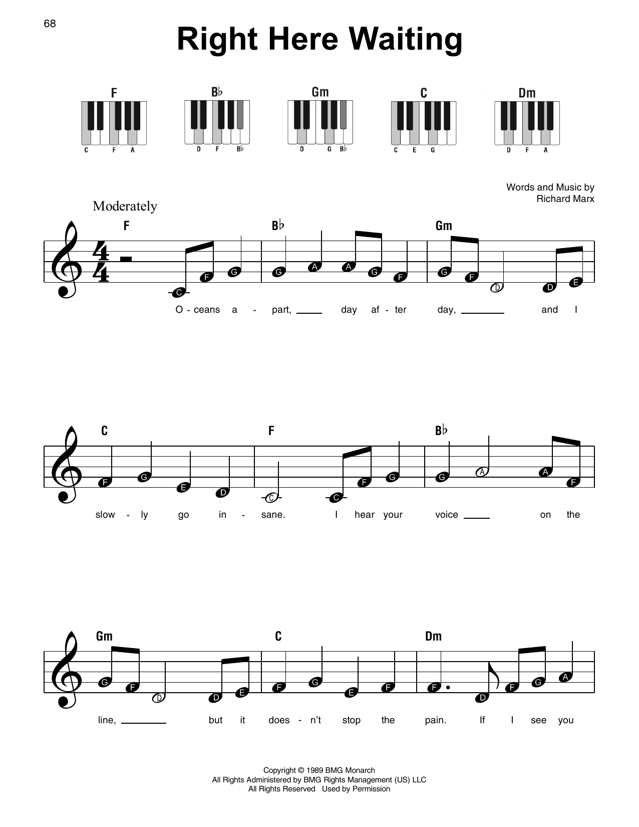 Right Here Waiting Sheet Music