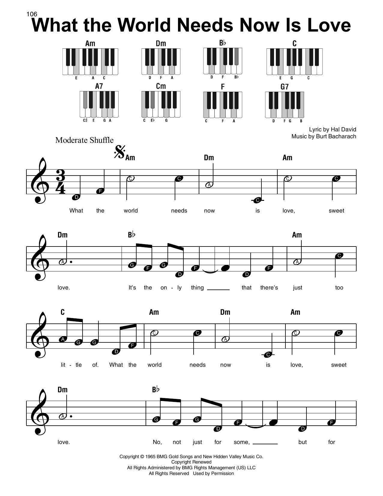 What The World Needs Now Is Love Sheet Music
