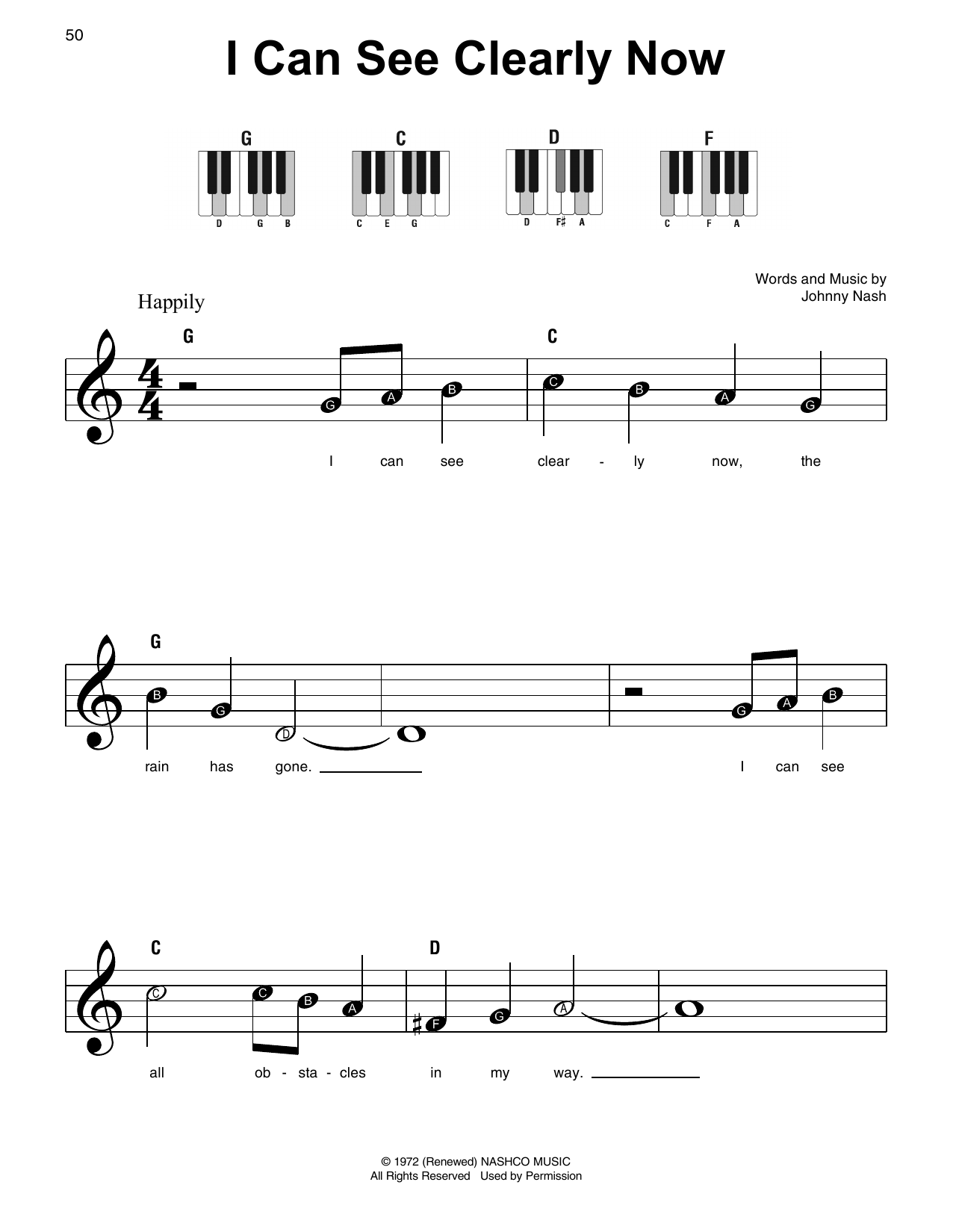 I Can See Clearly Now Sheet Music