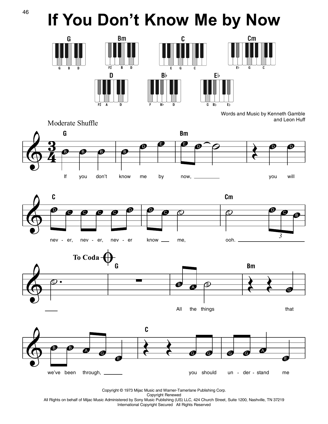 If You Don't Know Me By Now Sheet Music