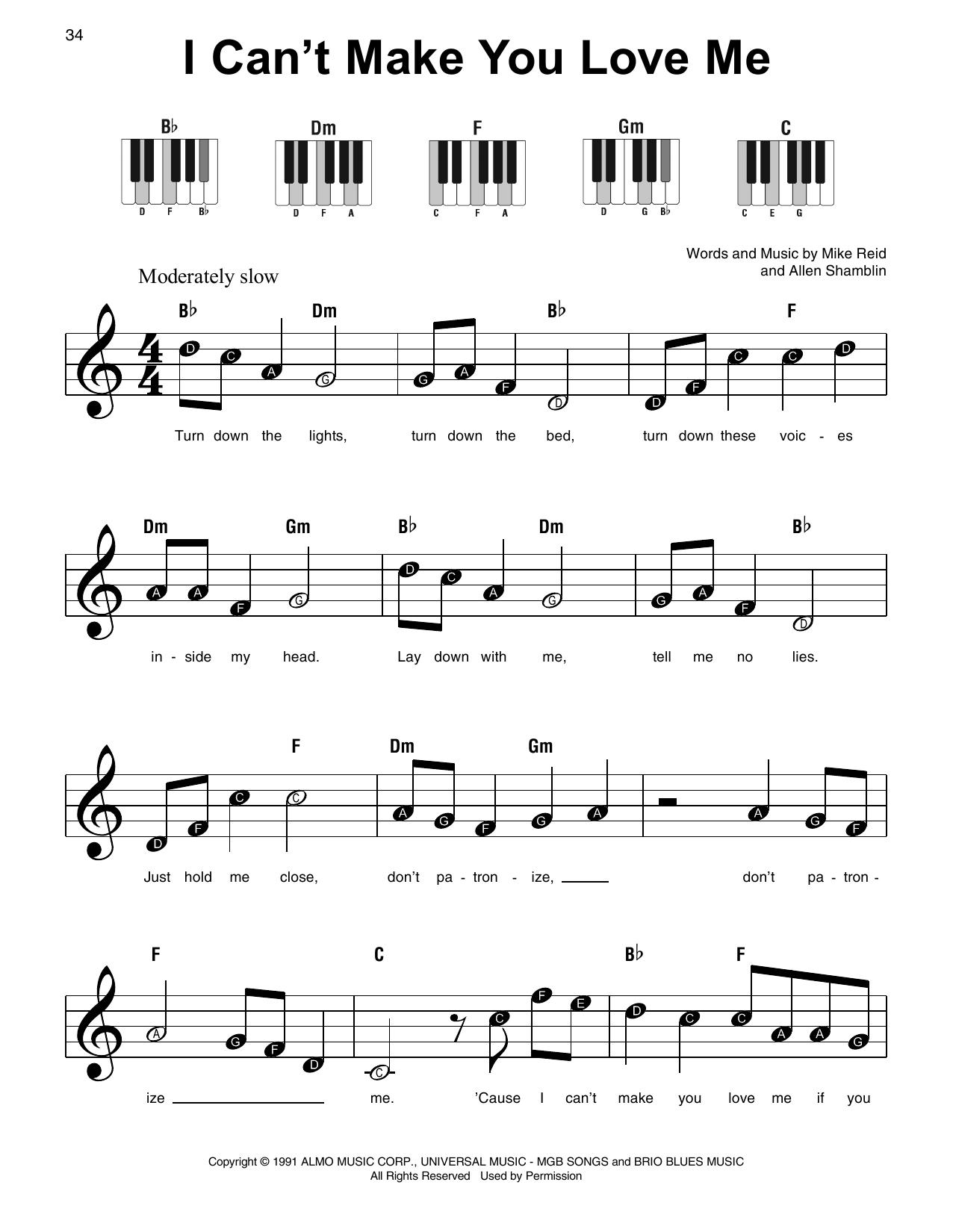 I Can't Make You Love Me (Super Easy Piano) - Print Sheet Music Now