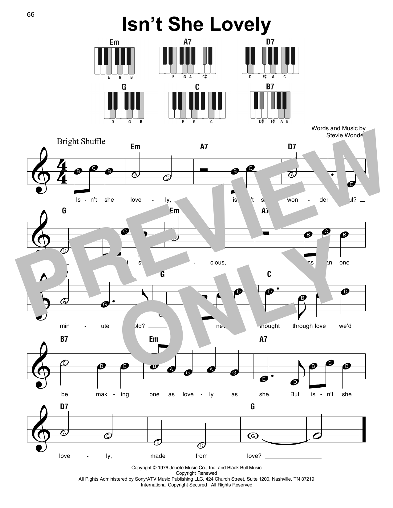 Isn't She Lovely Sheet Music