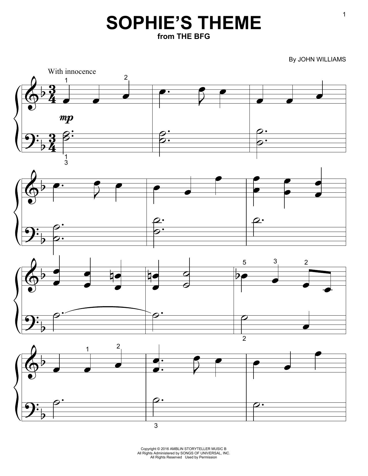 Partition autre Sophie's Theme de John Williams - Autre