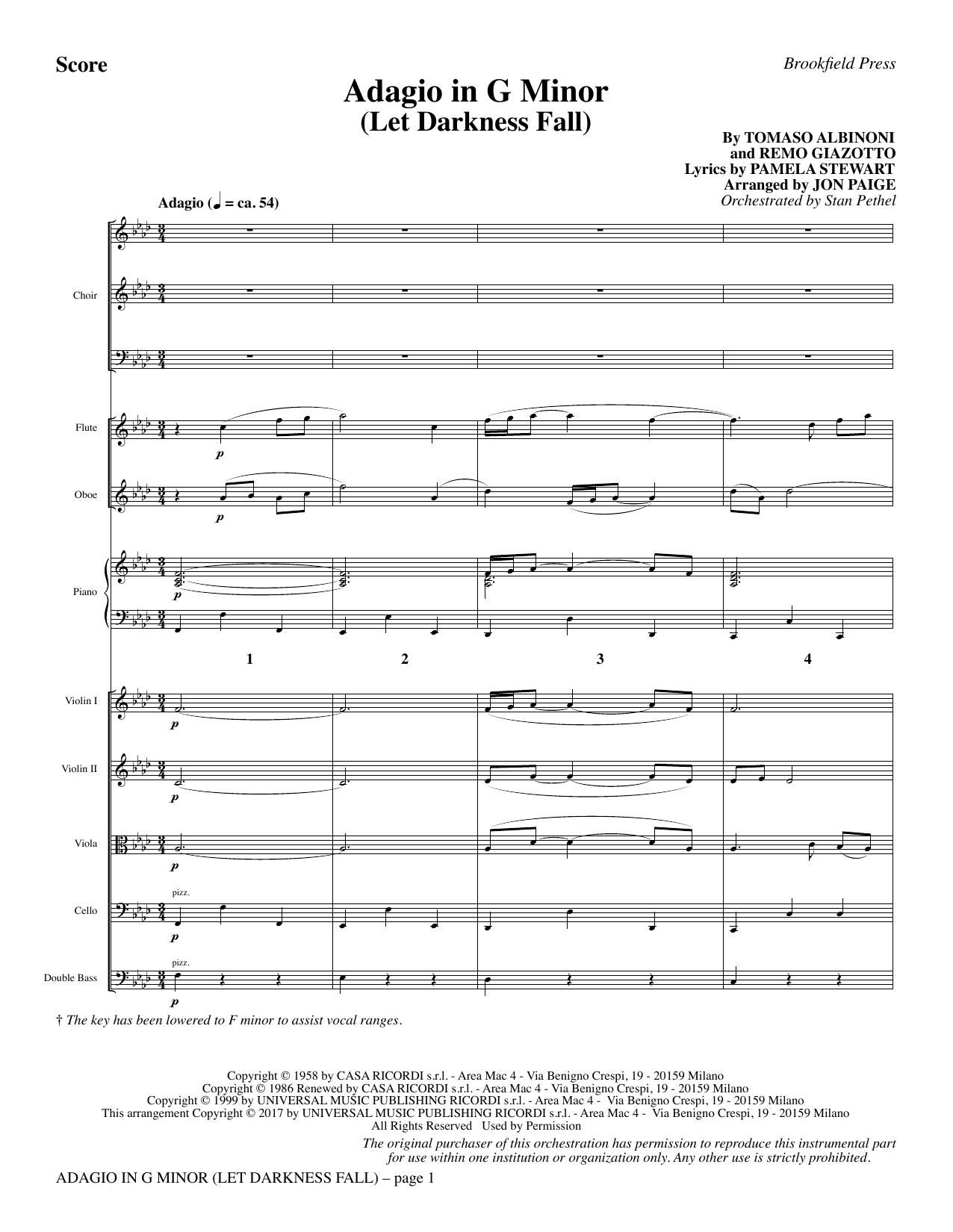 Adagio In G Minor (Let Darkness Fall) - Full Score (Choir Instrumental Pak)