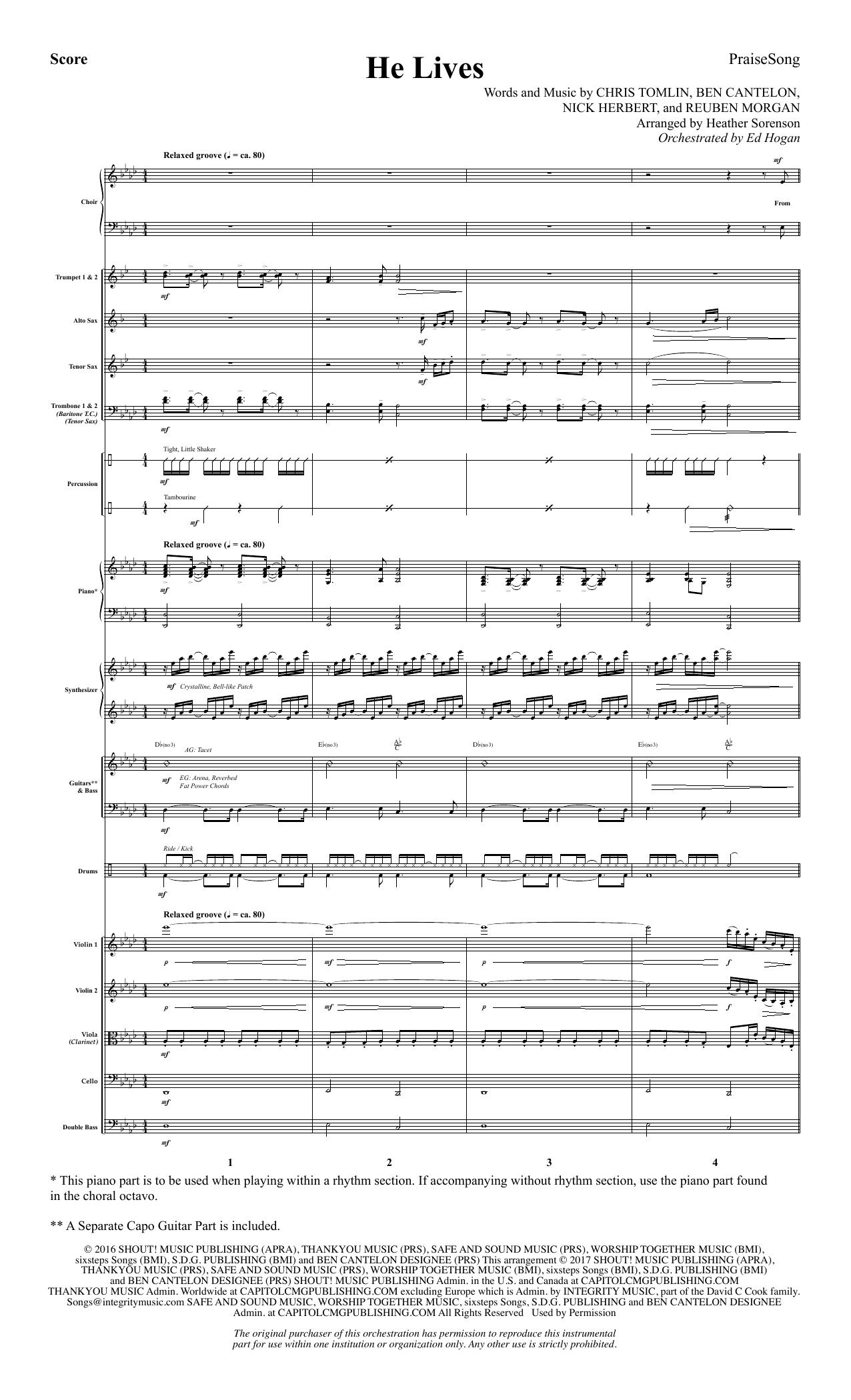 He Lives - Full Score (Choir Instrumental Pak)