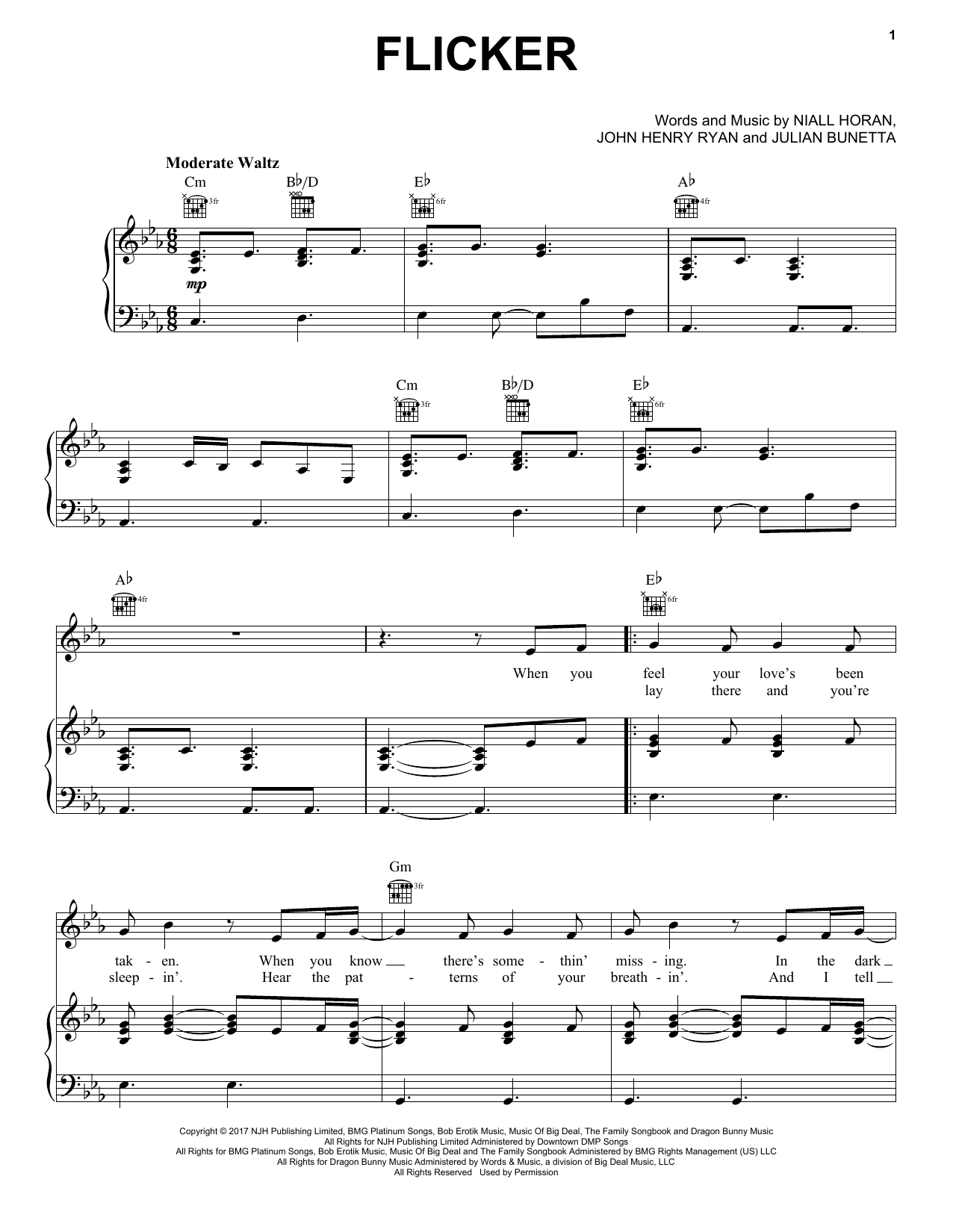 Flicker (Piano, Vocal & Guitar (Right-Hand Melody))