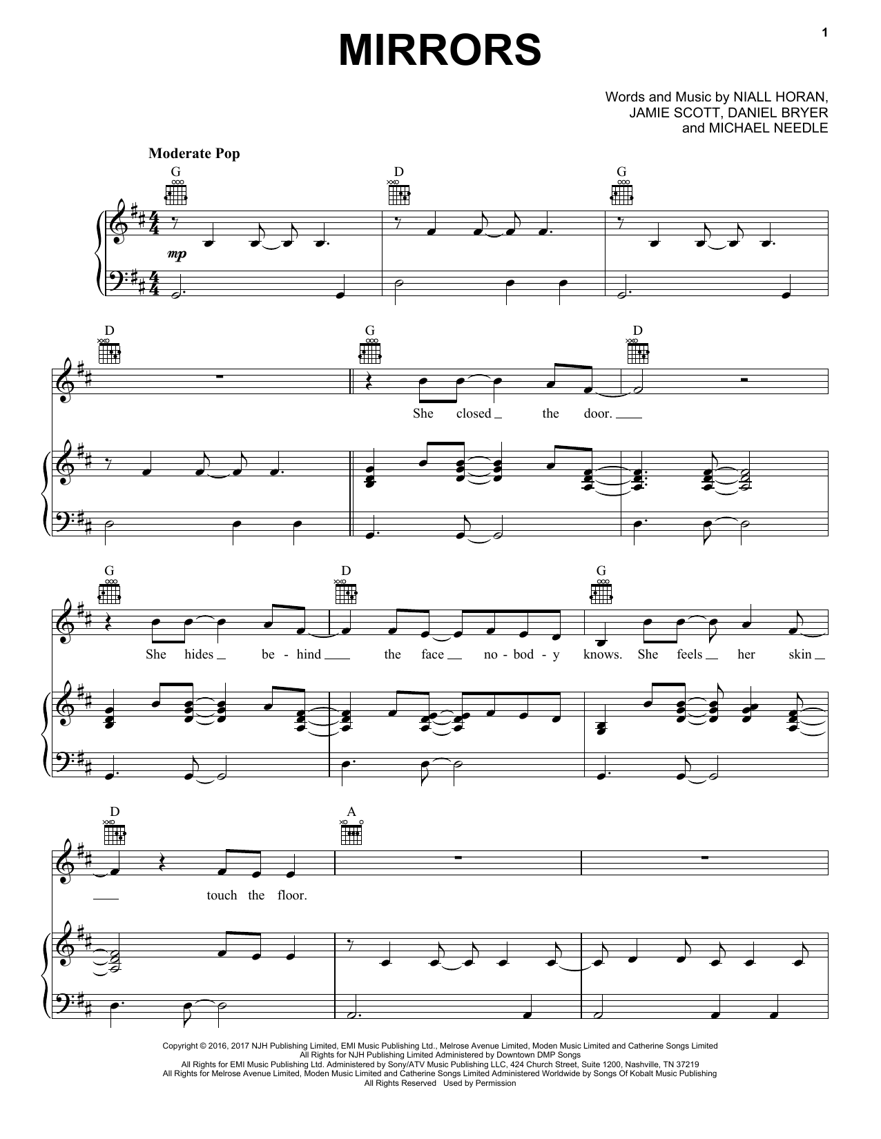 Mirrors (Piano, Vocal & Guitar (Right-Hand Melody))