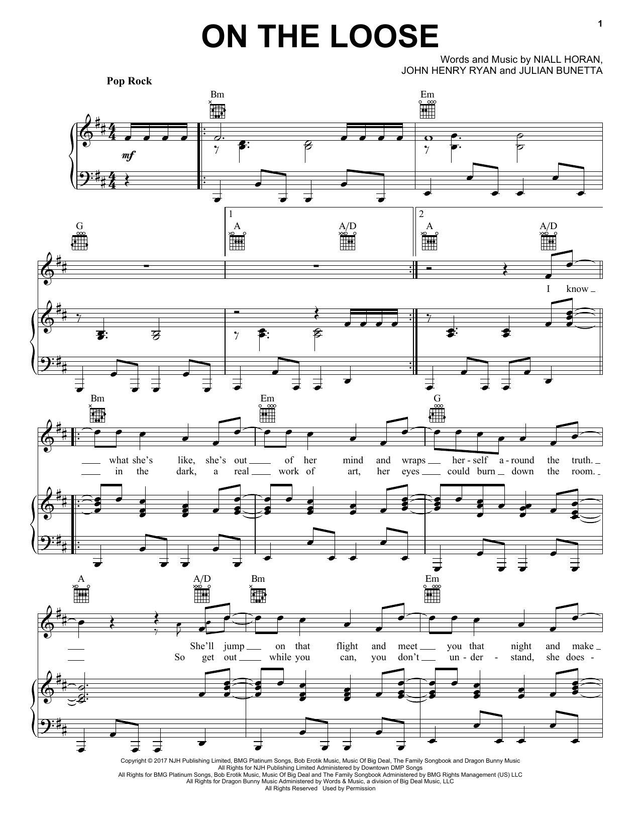 On The Loose (Piano, Vocal & Guitar (Right-Hand Melody))