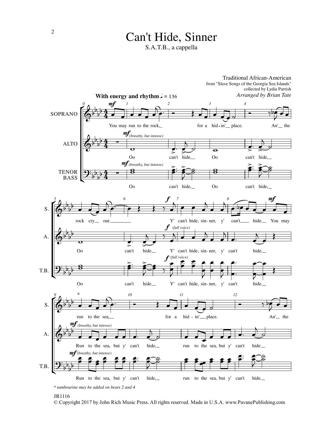 Can't Hide Sinner Sheet Music