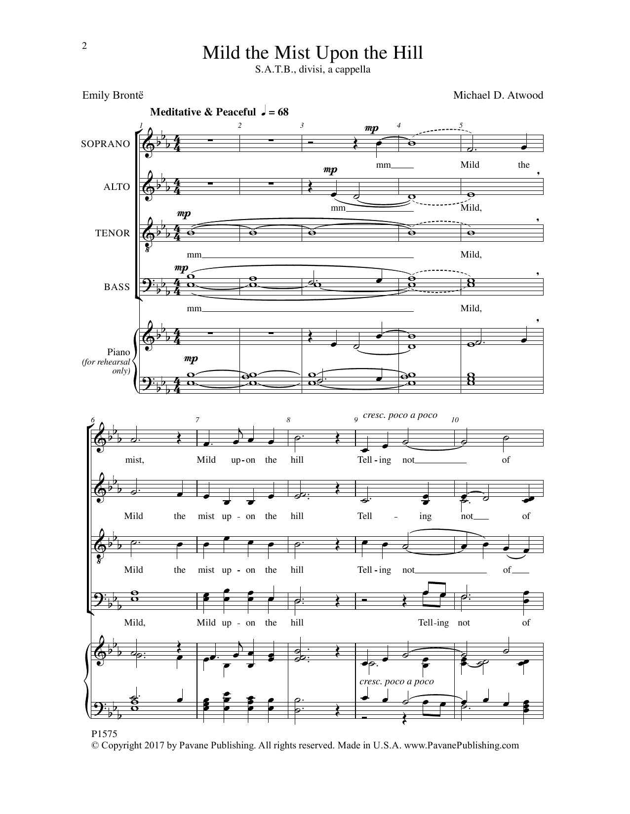 Mild the Mist upon the Hill Sheet Music