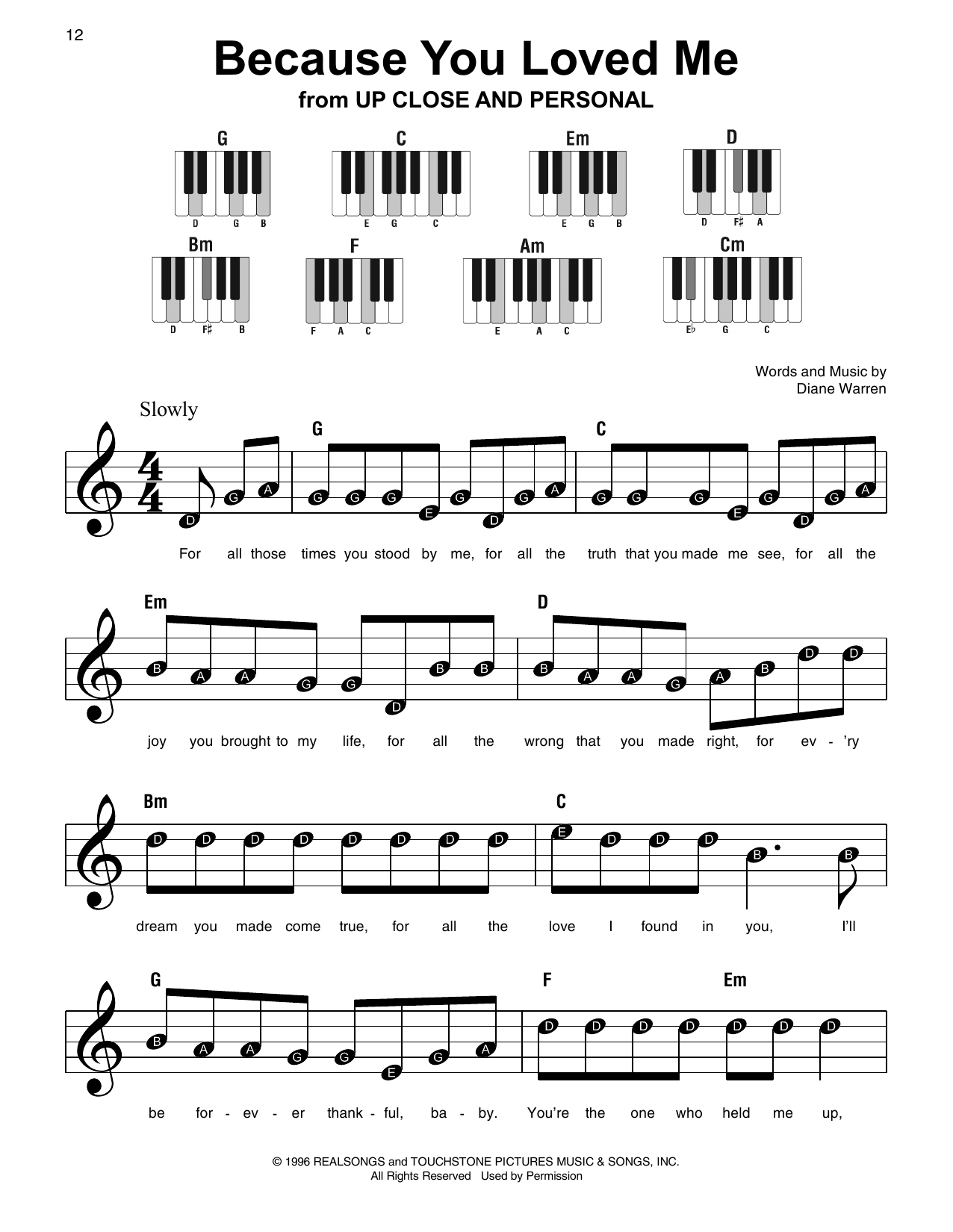 Because You Loved Me Sheet Music
