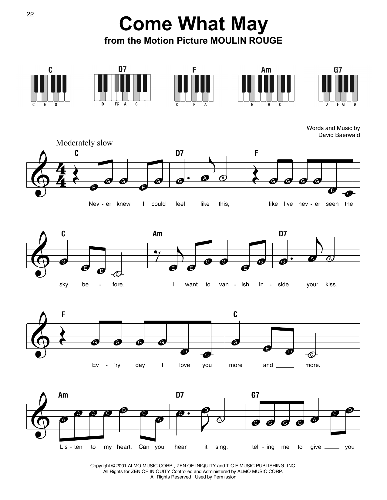 Come What May Sheet Music