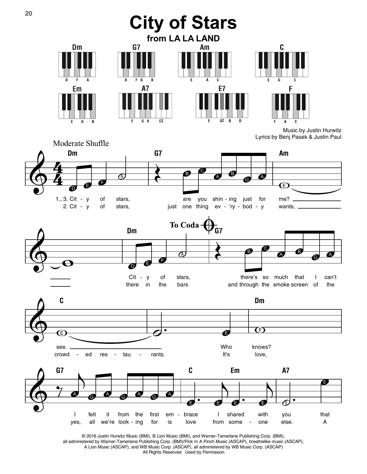 City Of Stars (from La La Land) Sheet Music
