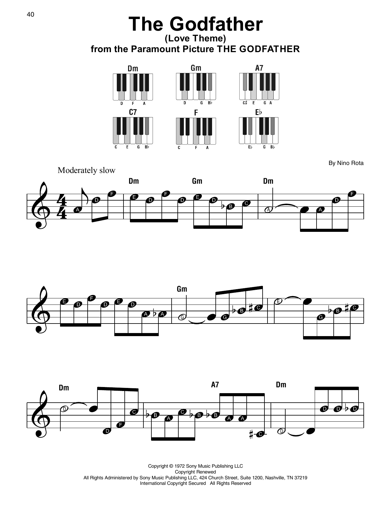 The Godfather (Love Theme) Sheet Music