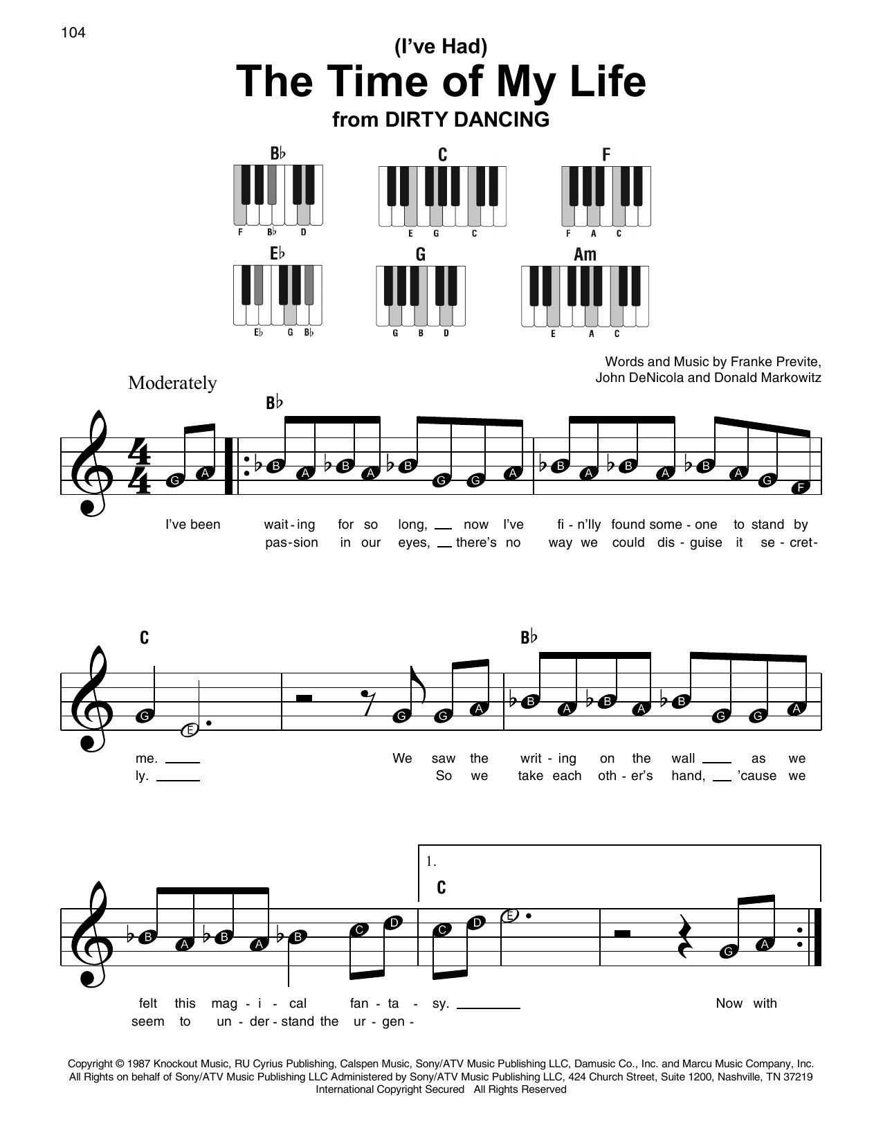 (I've Had) The Time Of My Life Sheet Music