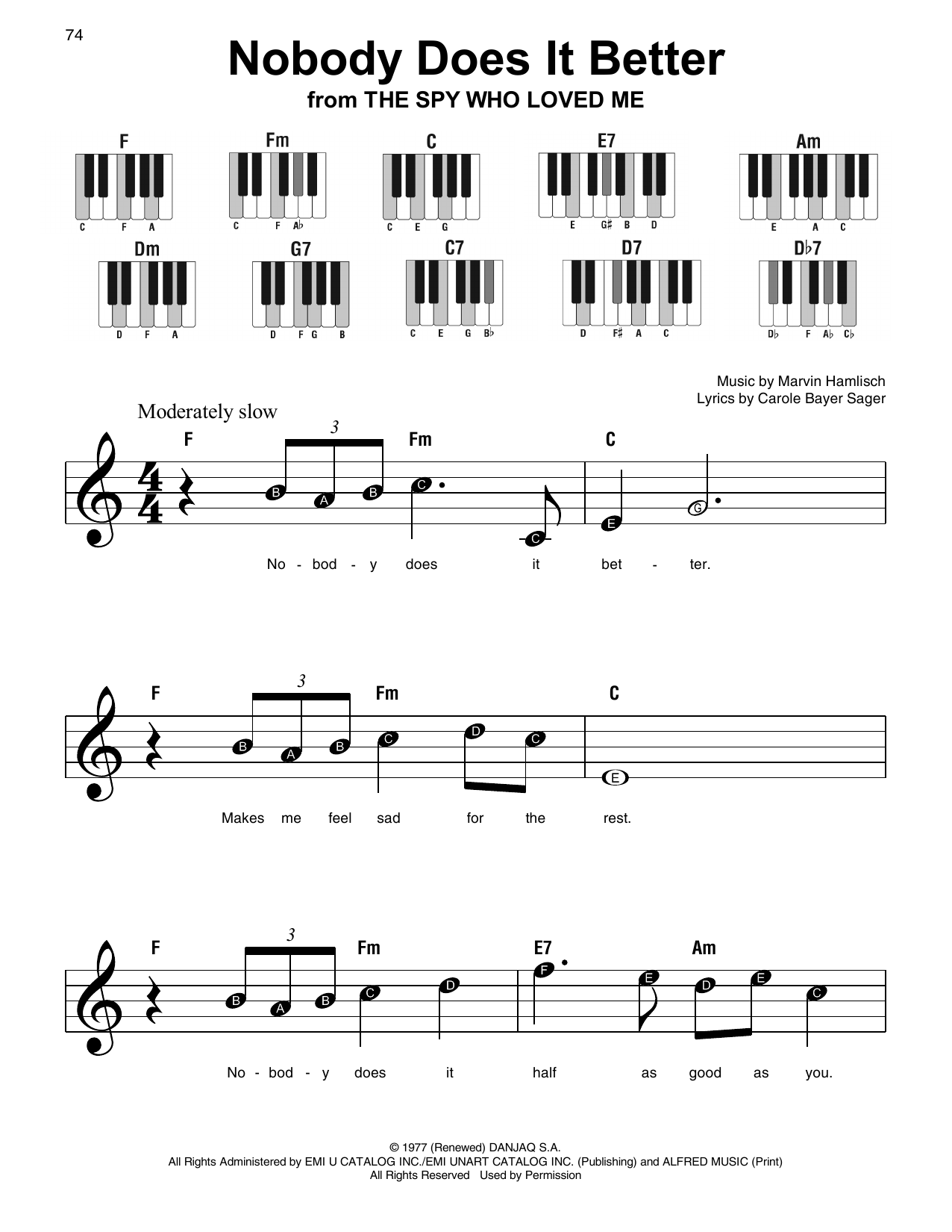 Nobody Does It Better Sheet Music
