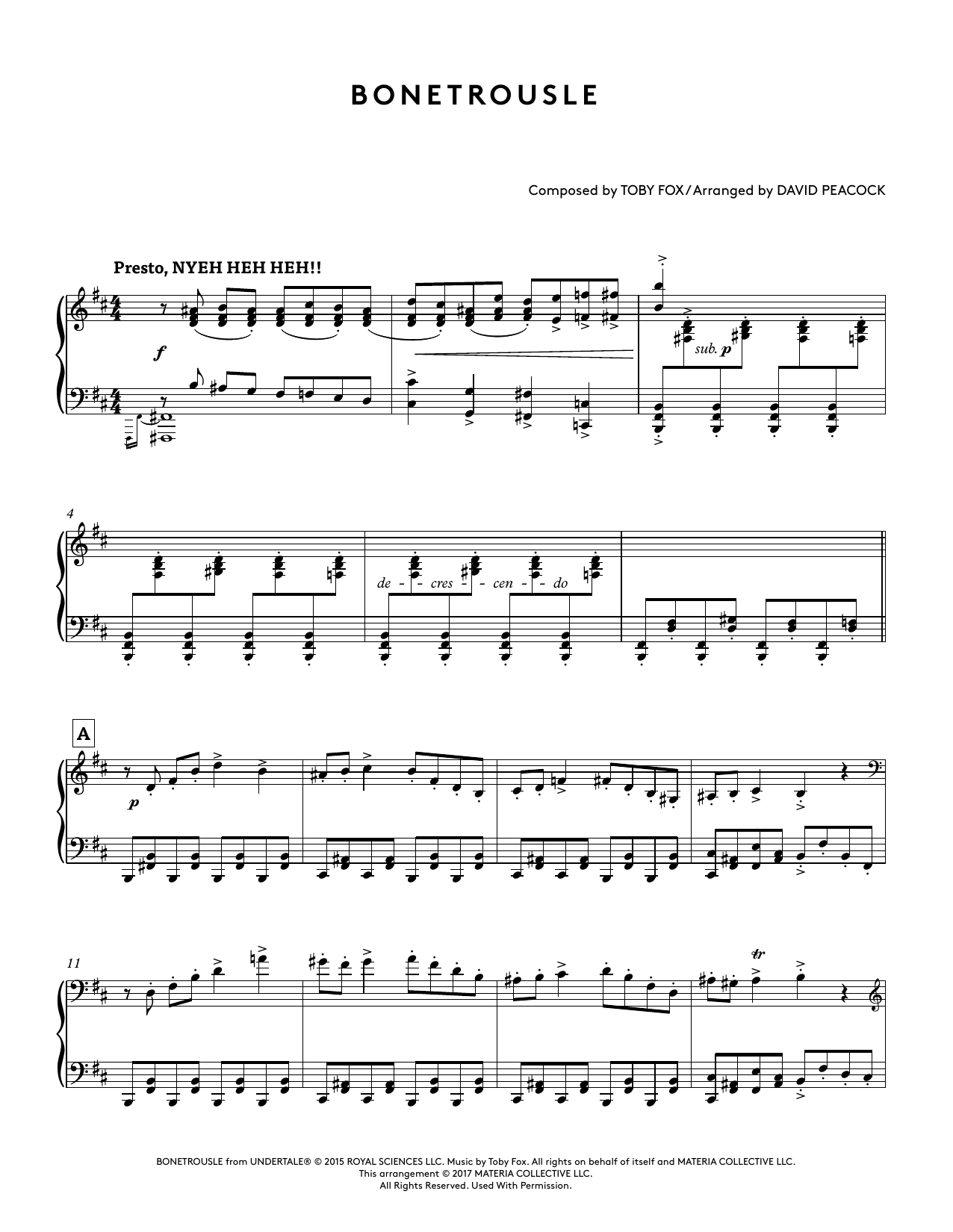 Bonetrousle (from Undertale Piano Collections) (arr  David Peacock) by Toby  Fox Piano Solo Digital Sheet Music