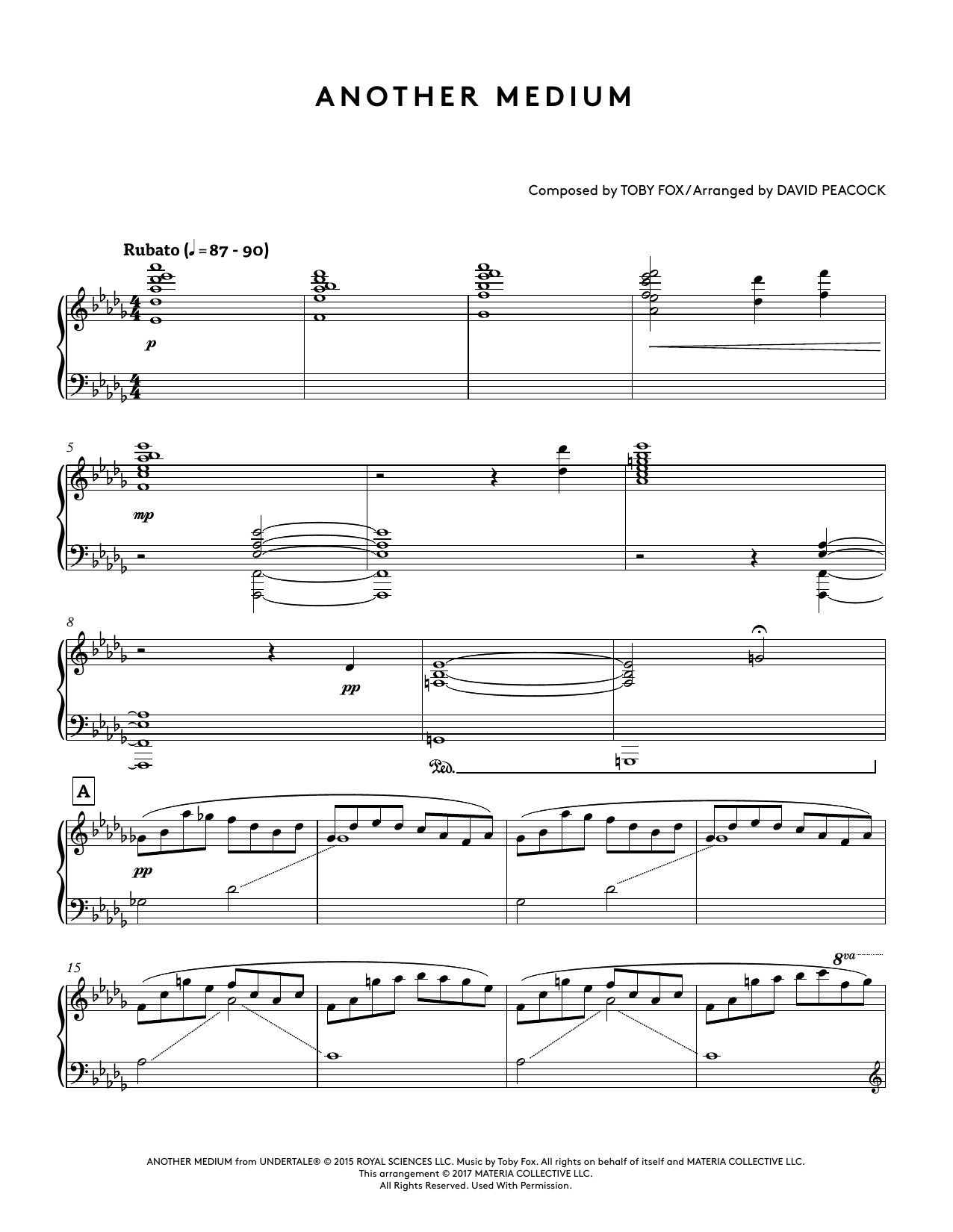 Another Medium (from Undertale Piano Collections) (arr  David Peacock) by  Toby Fox Piano Solo Digital Sheet Music