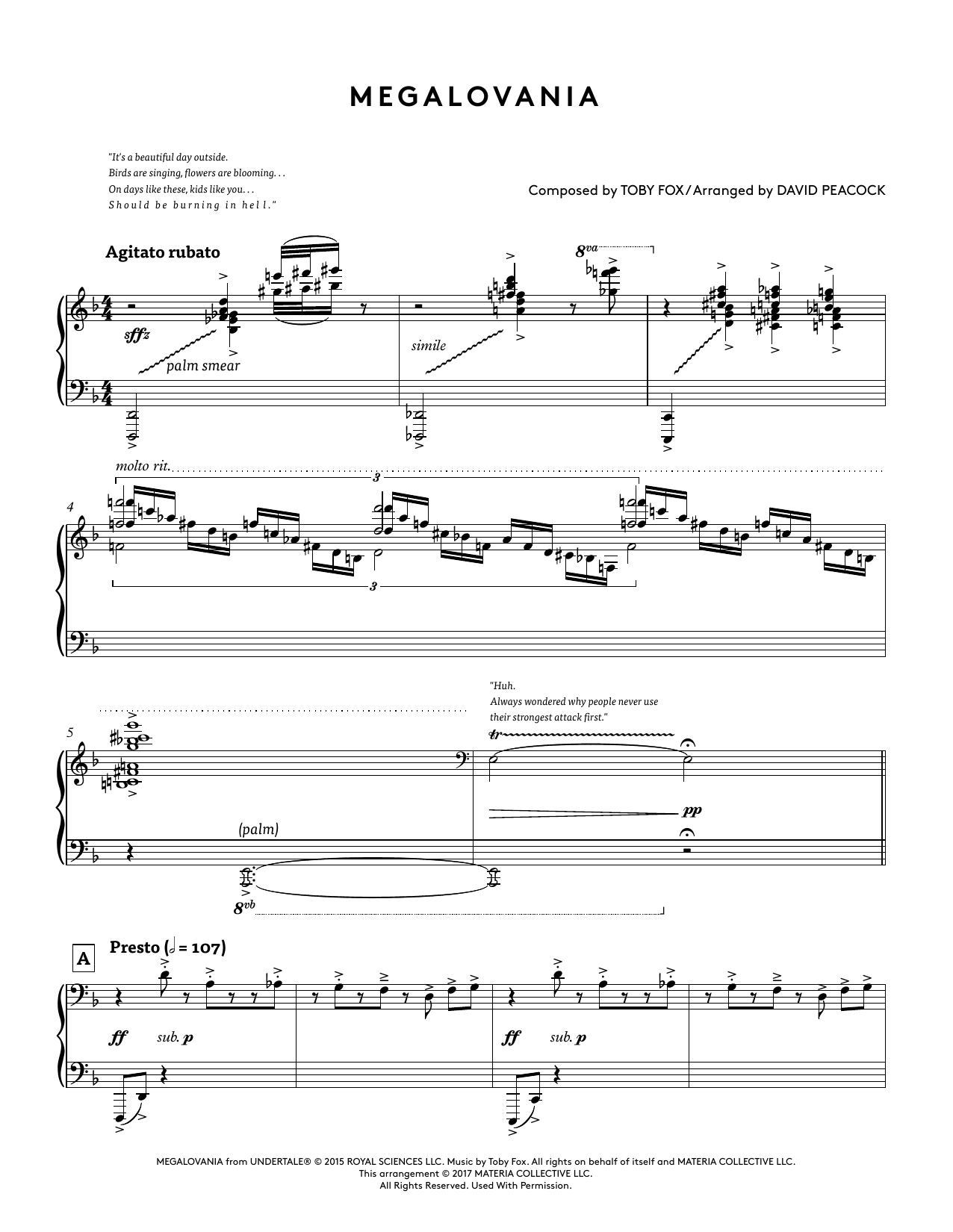 Megalovania (from Undertale Piano Collections) (arr  David Peacock) by Toby  Fox Piano Solo Digital Sheet Music