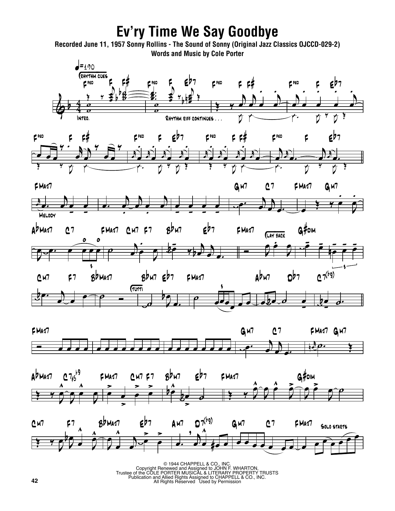 Ev'ry Time We Say Goodbye (Tenor Sax Transcription)