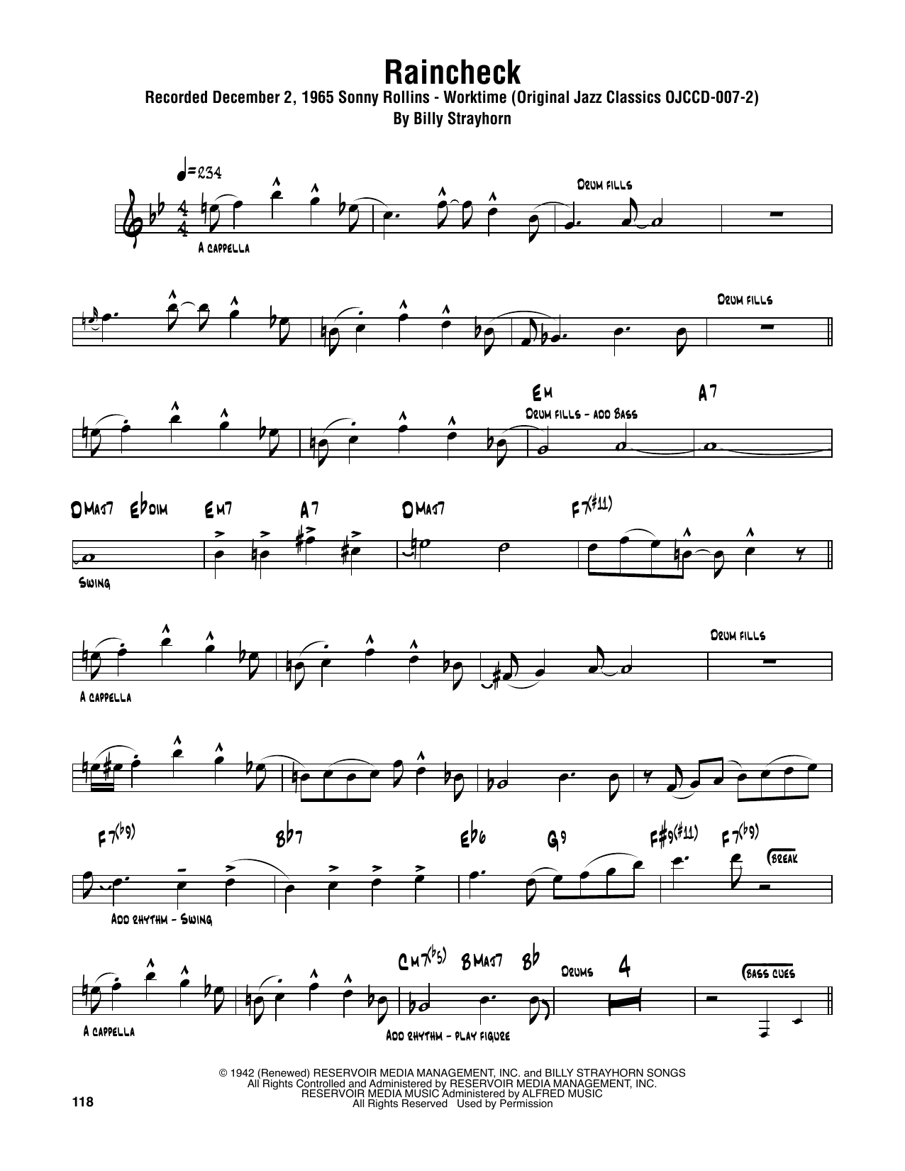 Raincheck (Tenor Sax Transcription)