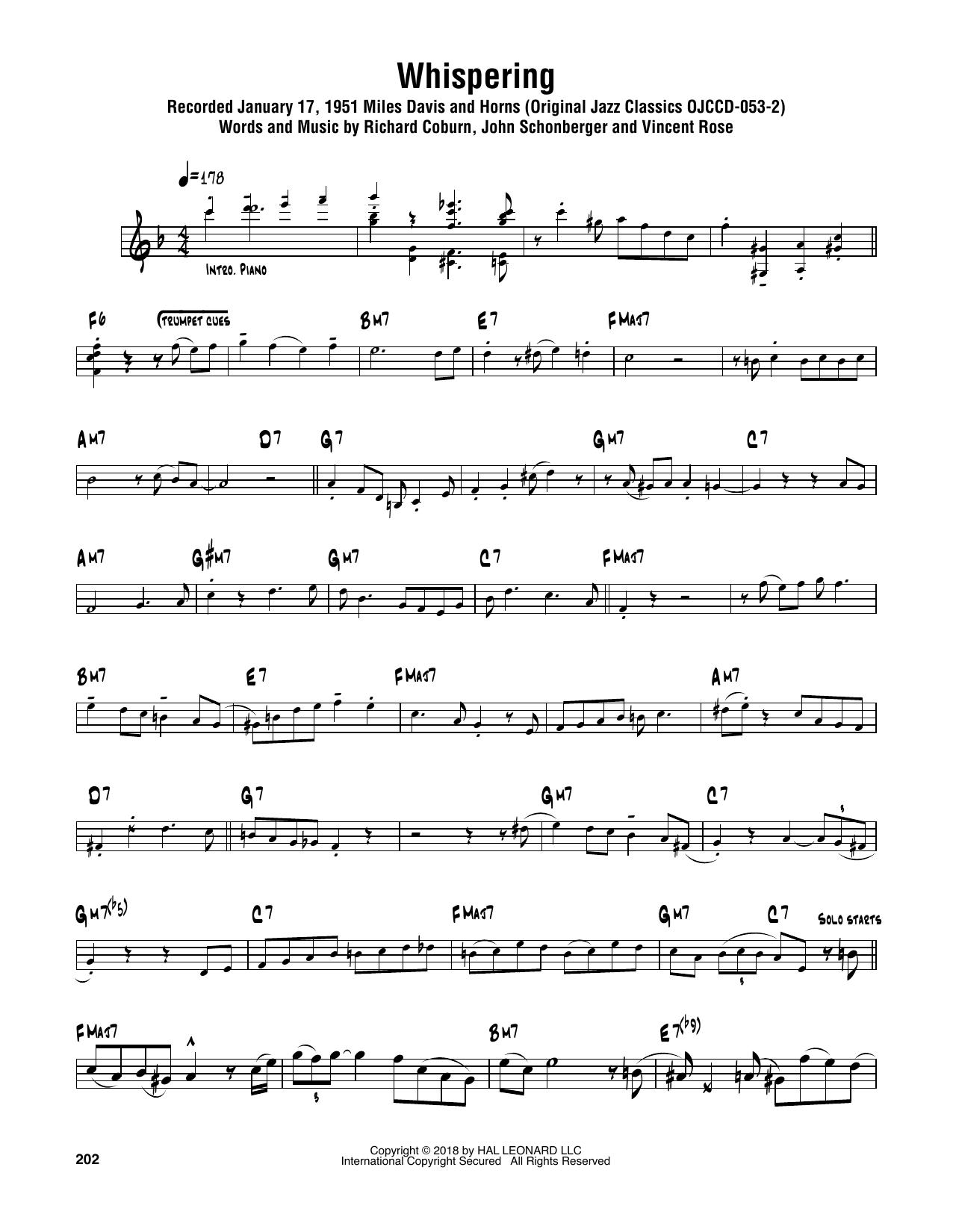 Whispering (Tenor Sax Transcription)