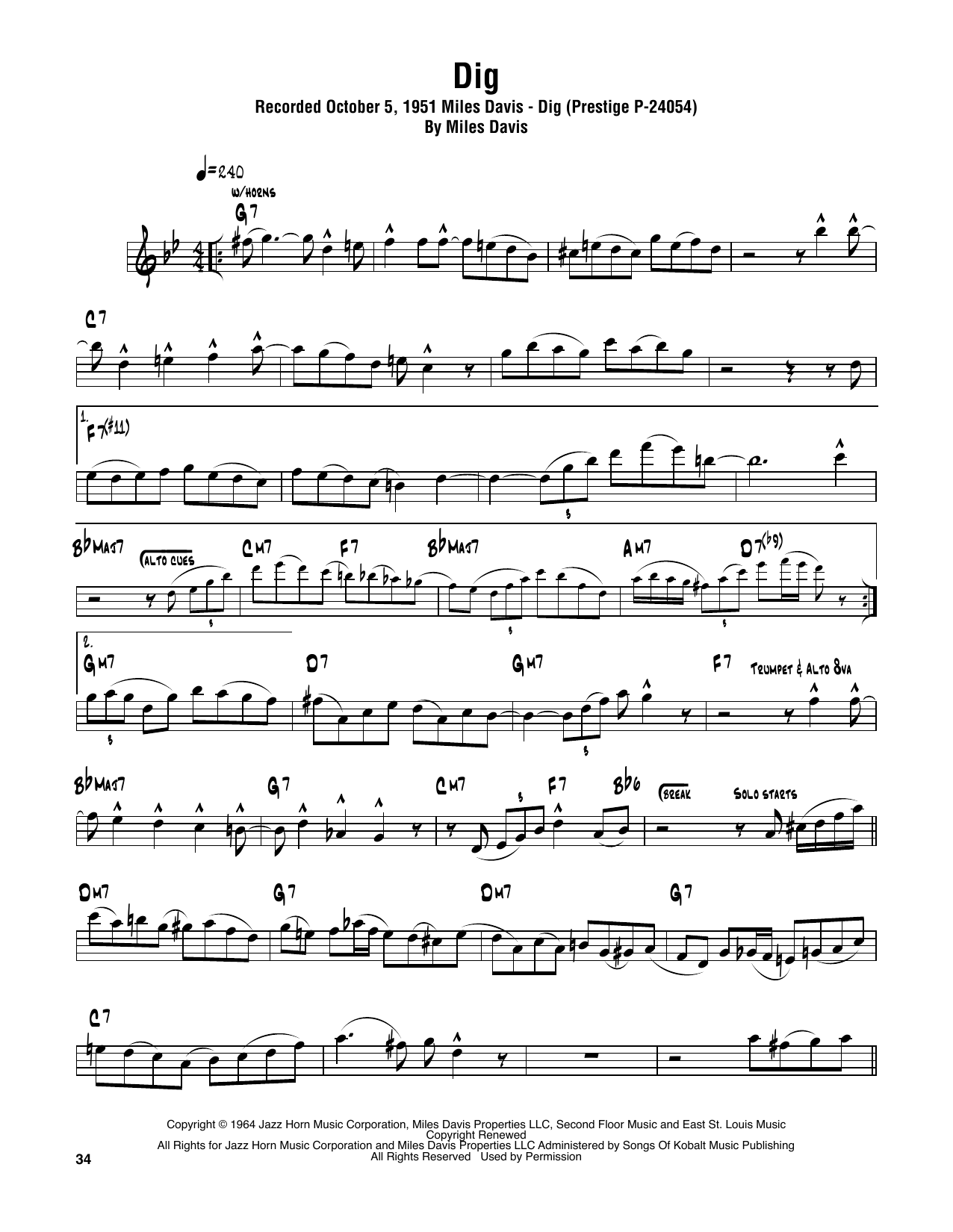 Dig (Tenor Sax Transcription)