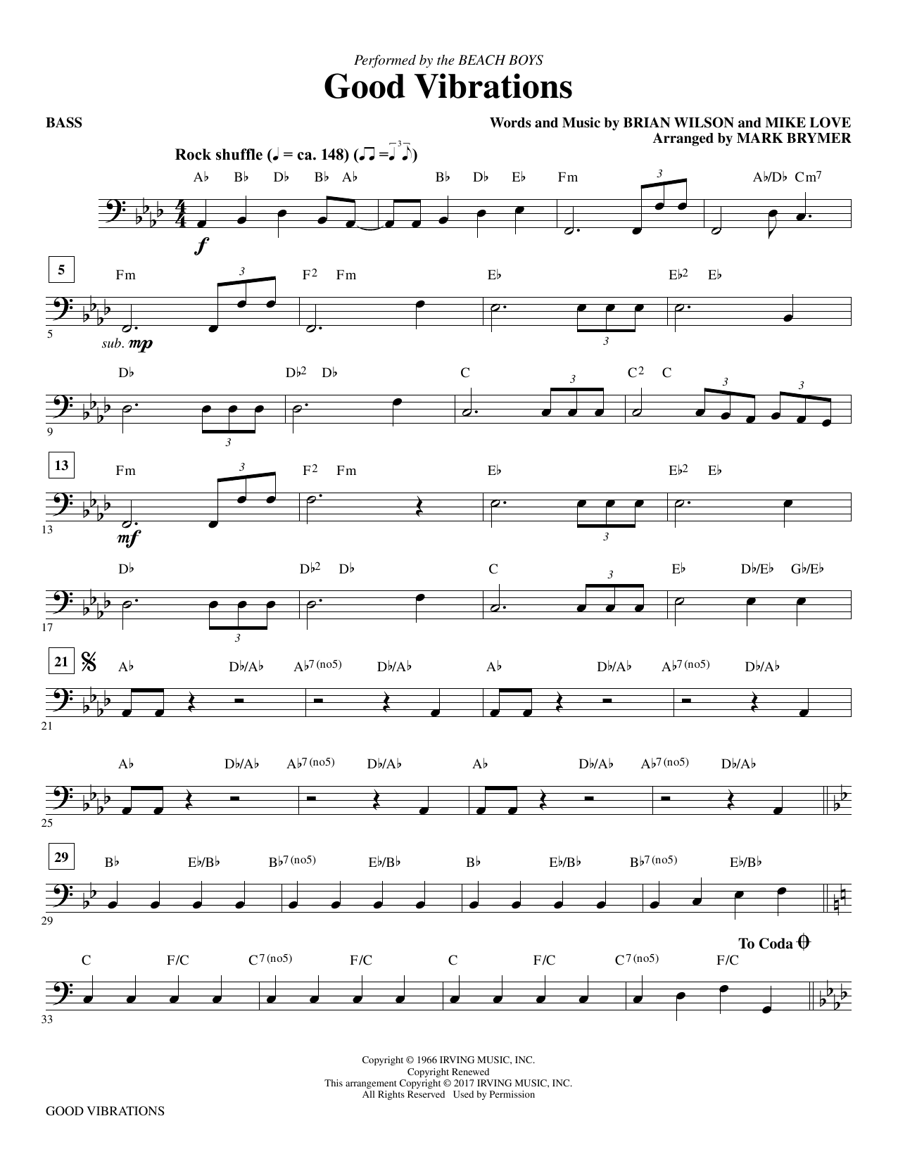 Good Vibrations - Bass (Choir Instrumental Pak)
