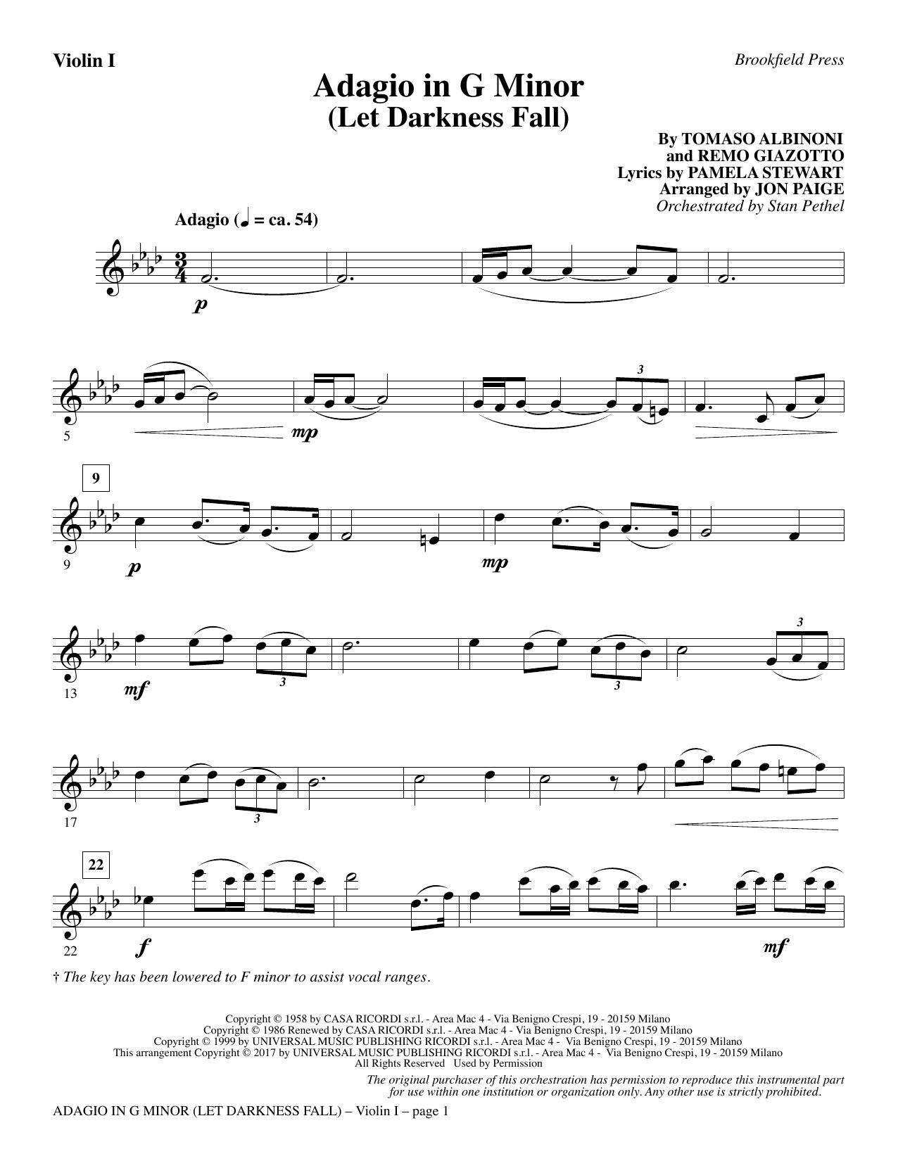 Adagio In G Minor (Let Darkness Fall) - Violin 1 (Choir Instrumental Pak)