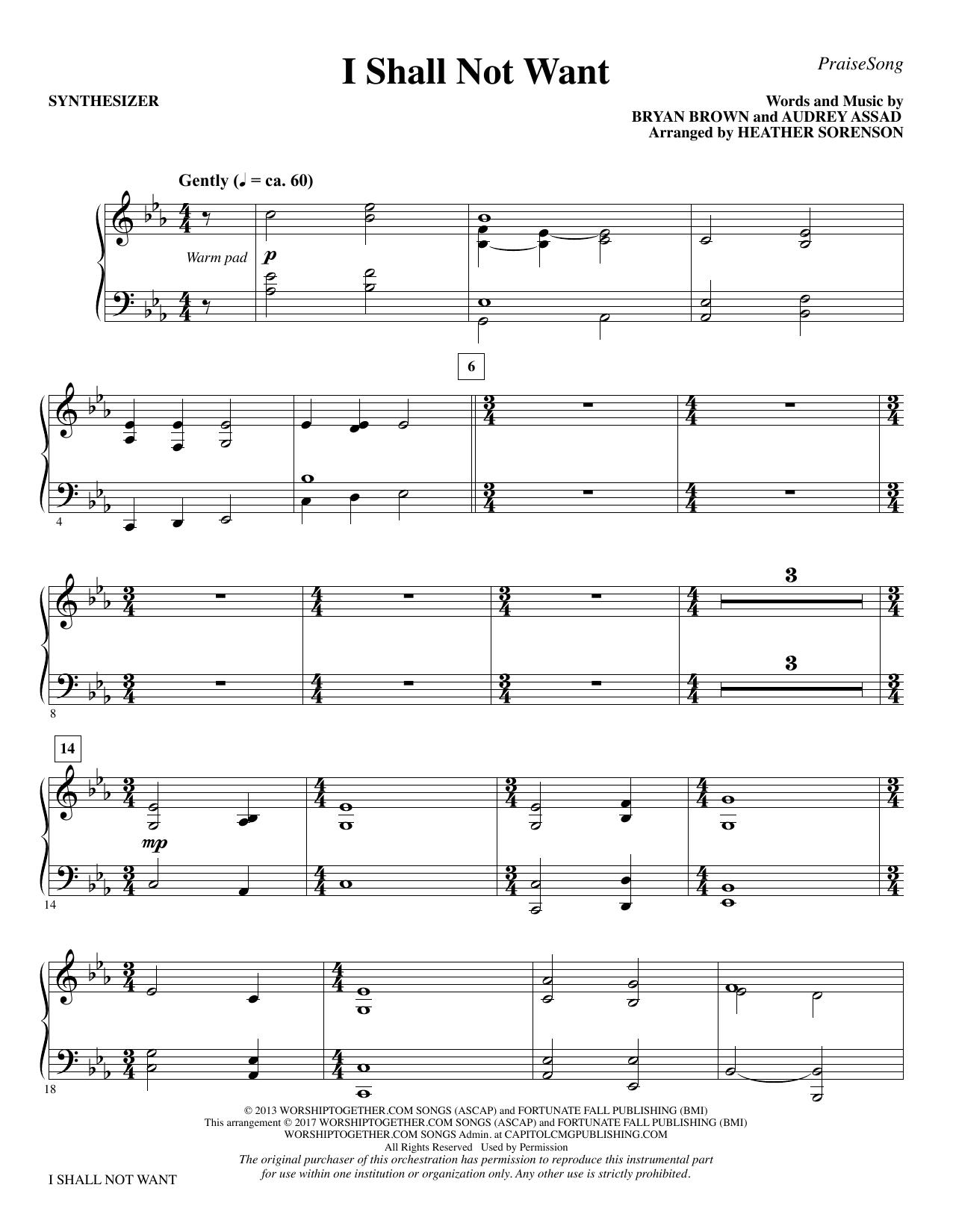 I Shall Not Want - Synthesizer (Choir Instrumental Pak)