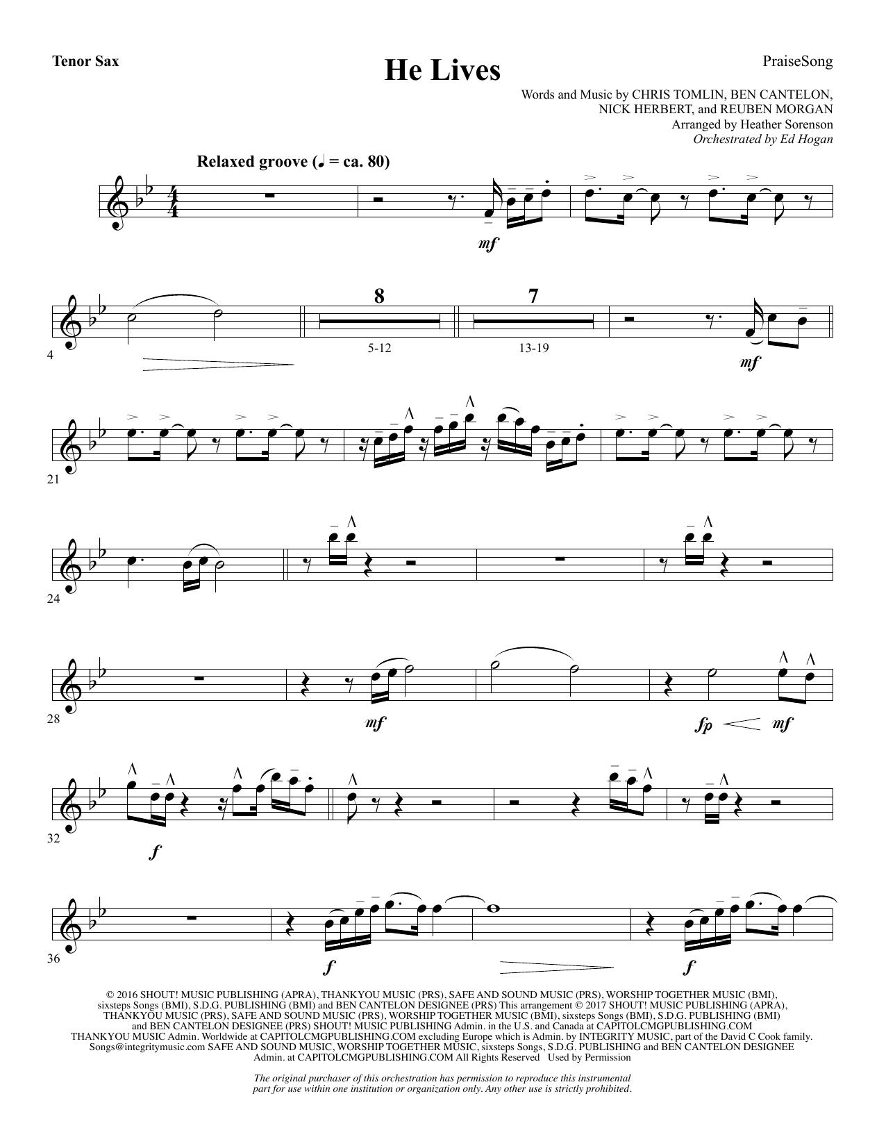 He Lives - Tenor Sax (Choir Instrumental Pak)