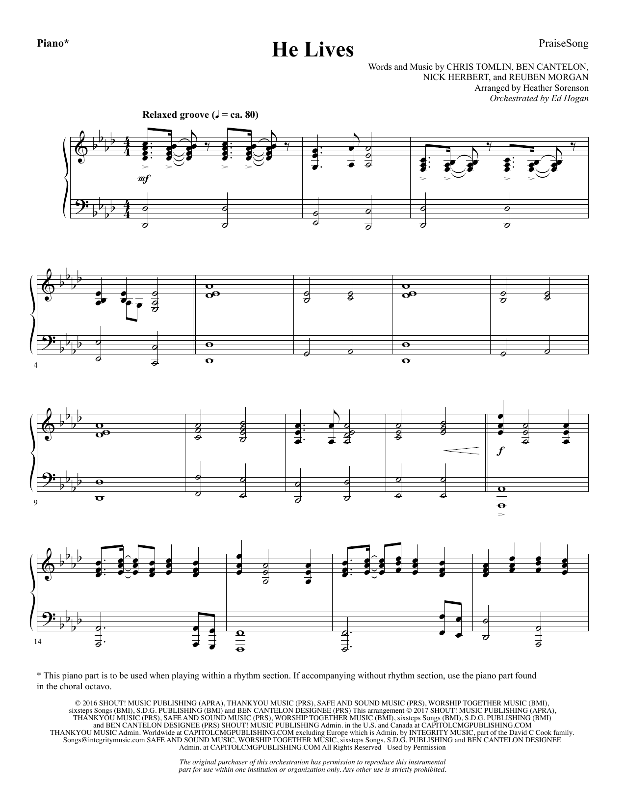 He Lives - Piano (Choir Instrumental Pak)