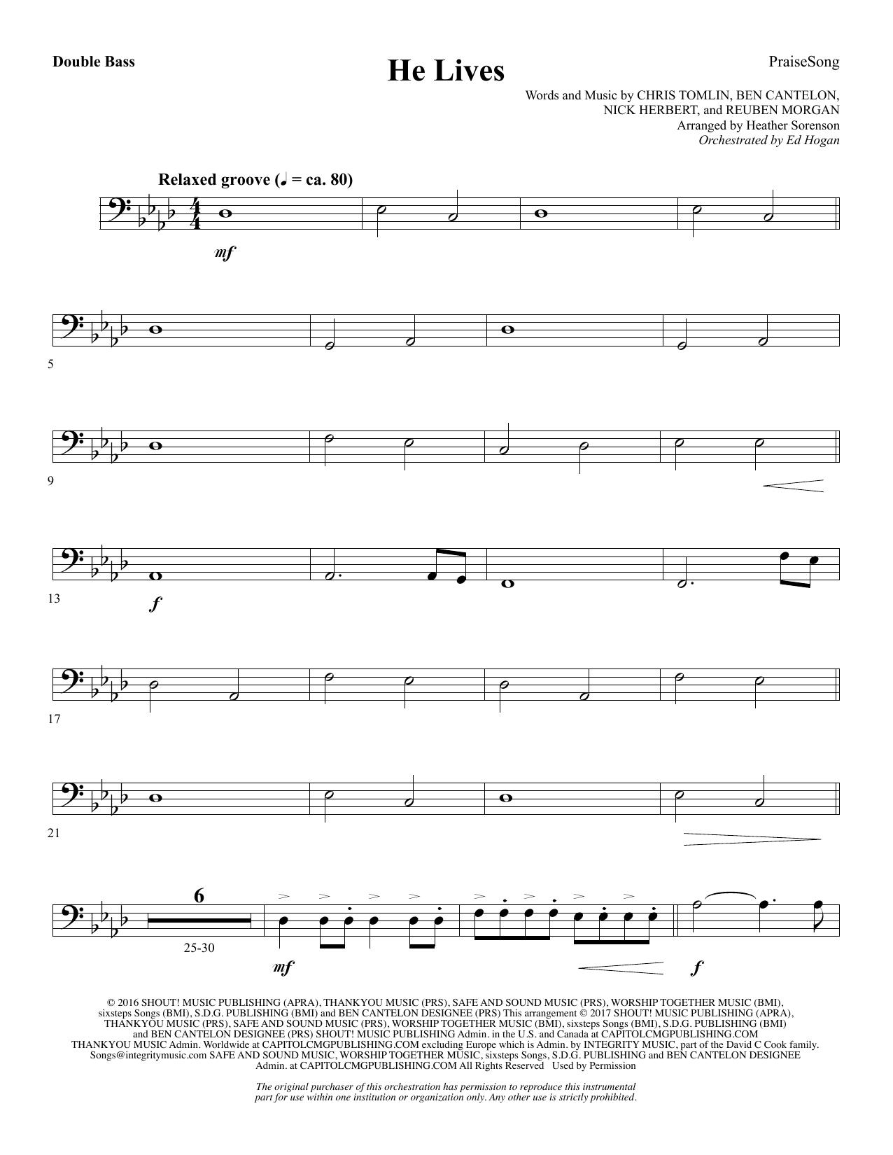 He Lives - Double Bass (Choir Instrumental Pak)
