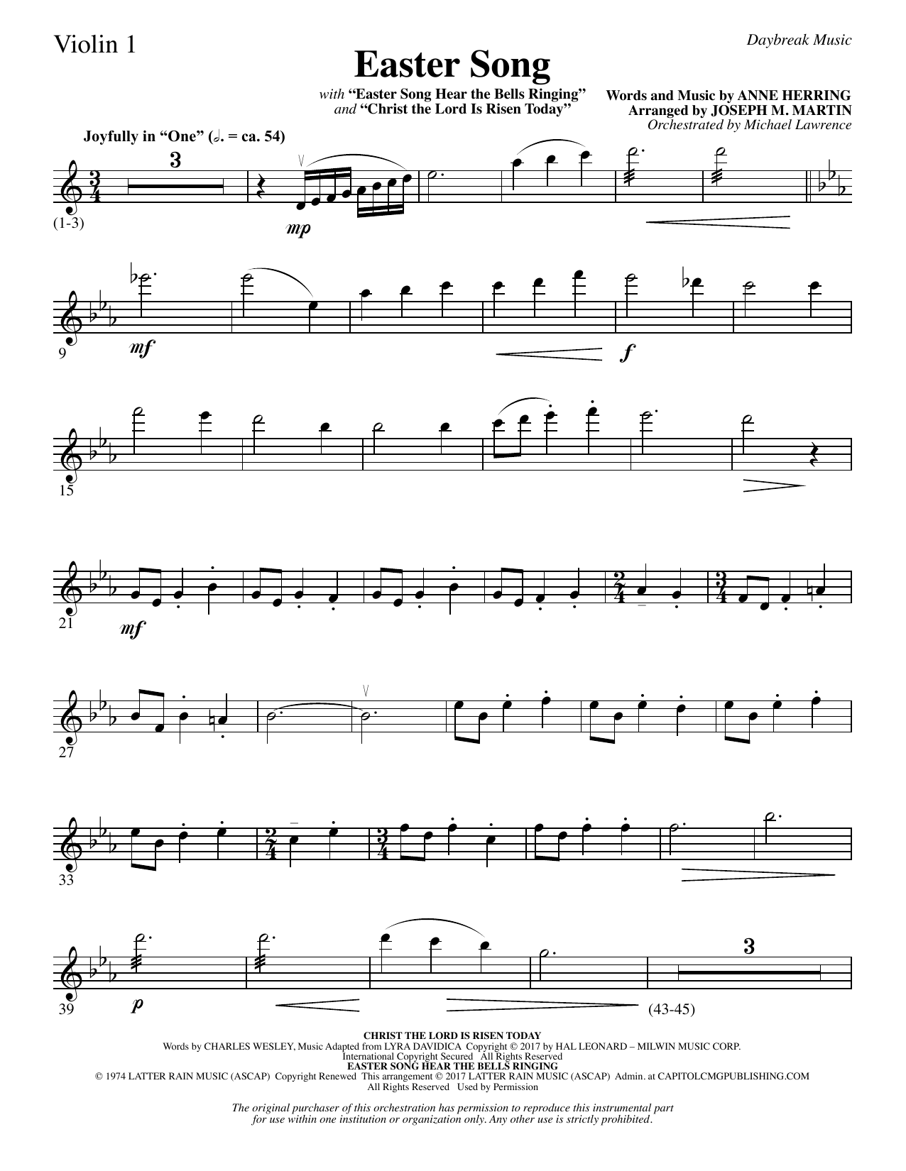 Easter Song - Violin 1 Sheet Music