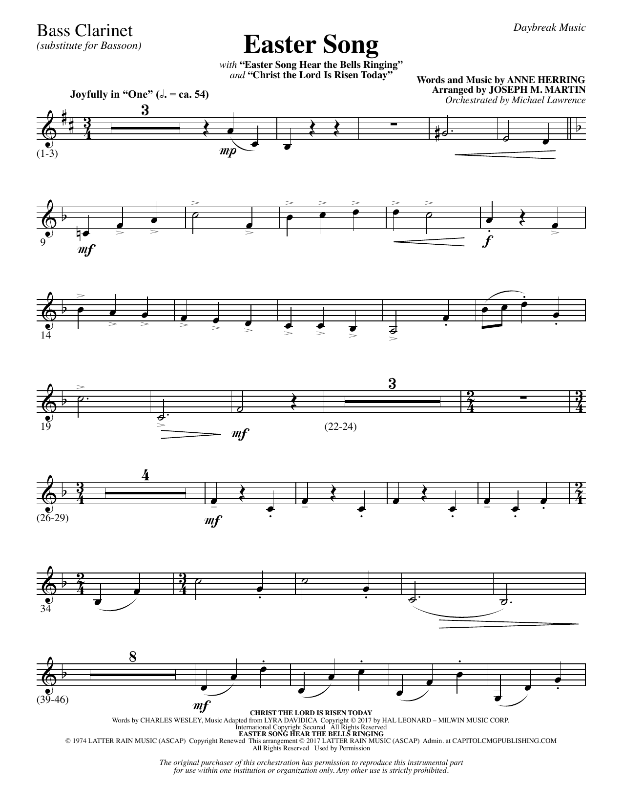 Easter Song Bass Clarinet Sub Bassoon Sheet Music Joseph