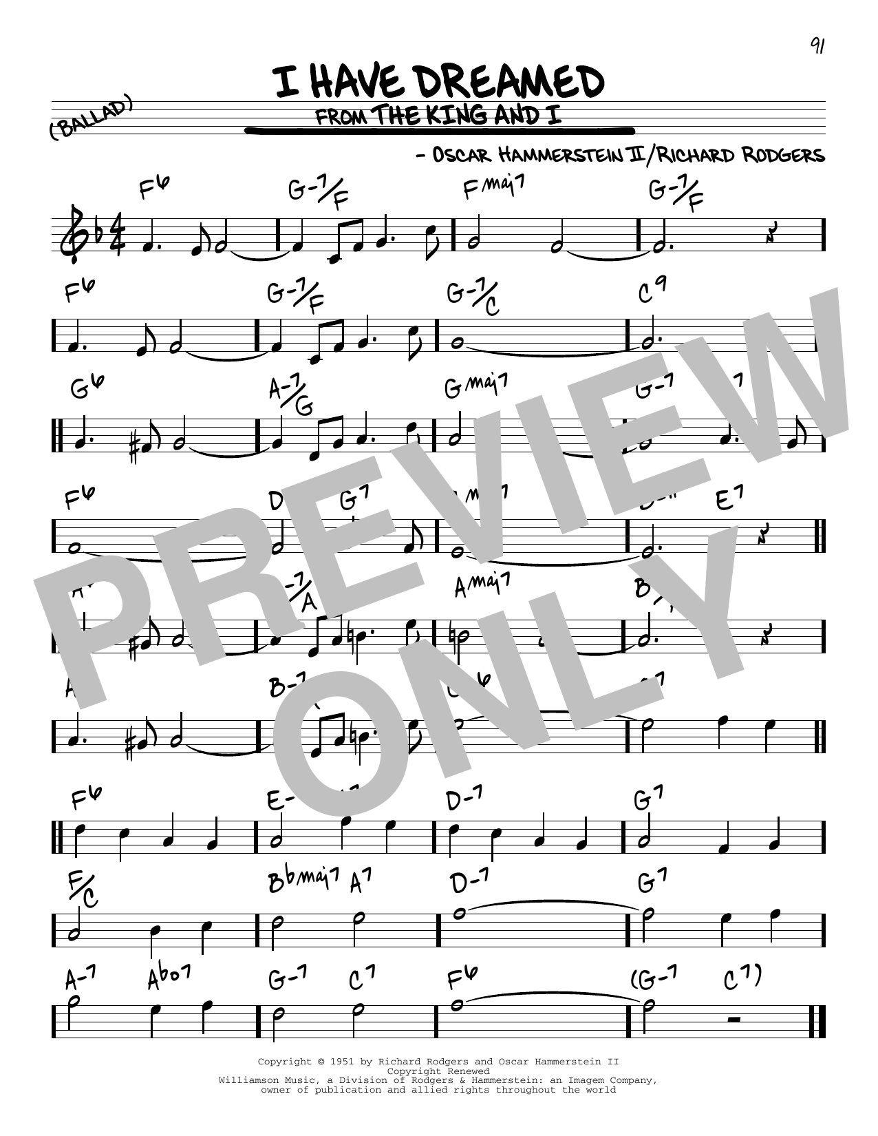 I Have Dreamed Sheet Music