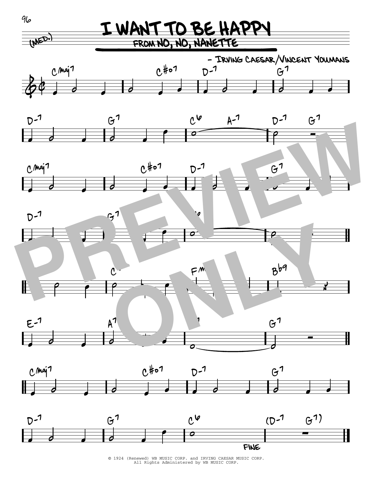 I Want To Be Happy Sheet Music