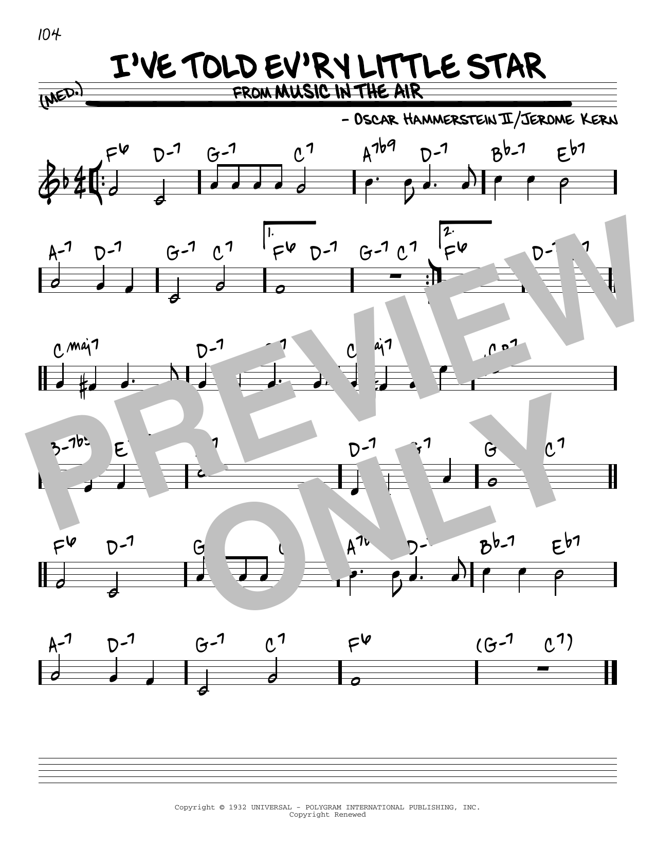 I've Told Ev'ry Little Star (Real Book – Melody & Chords)