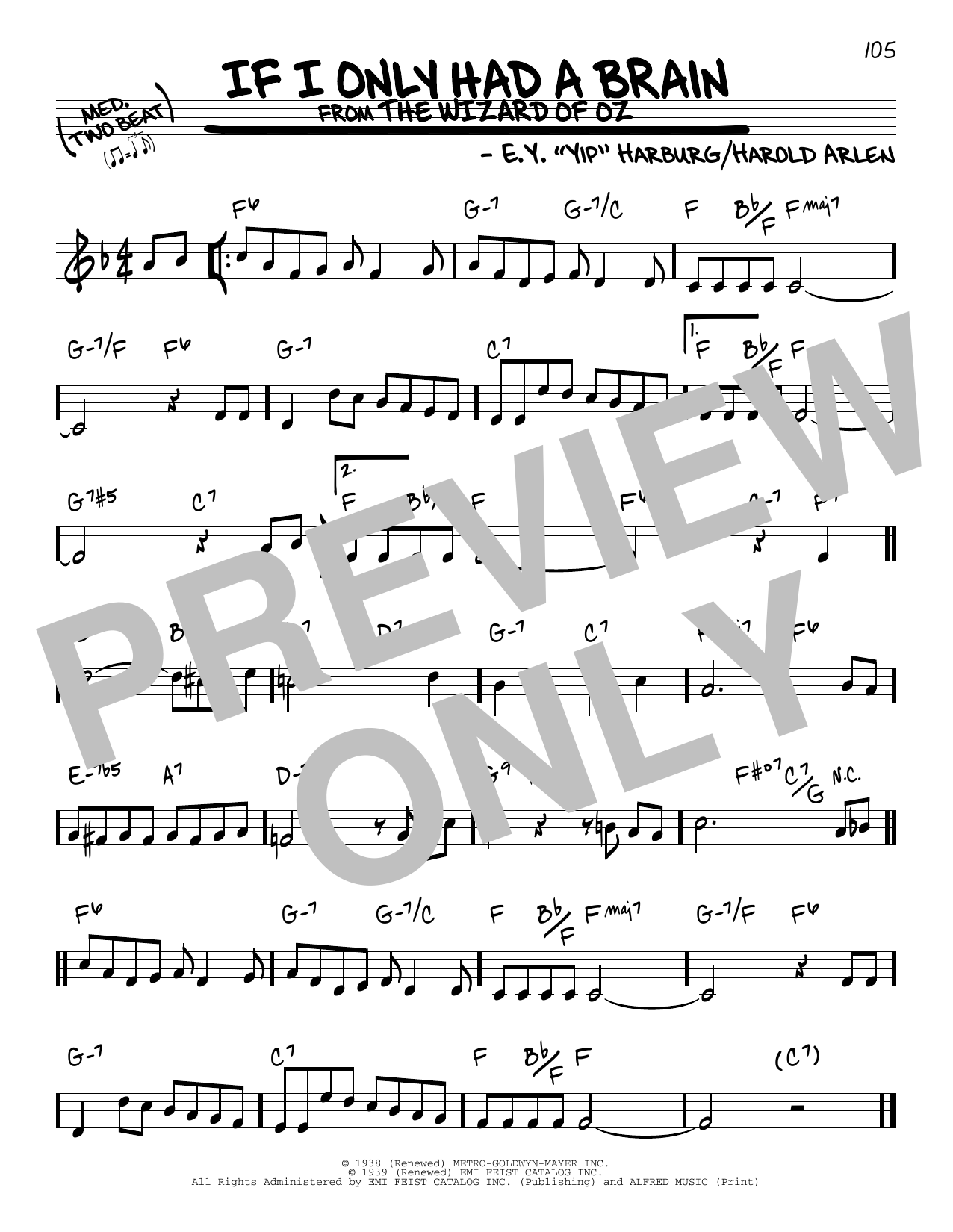 If I Only Had A Brain (Real Book – Melody & Chords)