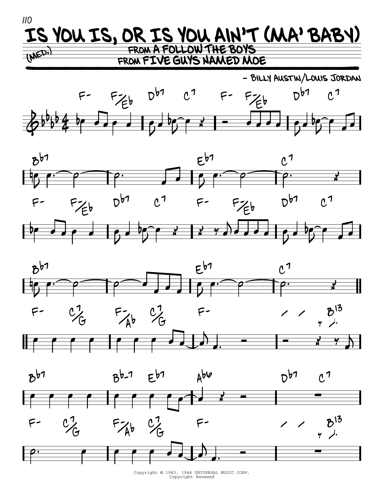 Is You Is, Or Is You Ain't (Ma' Baby) Sheet Music