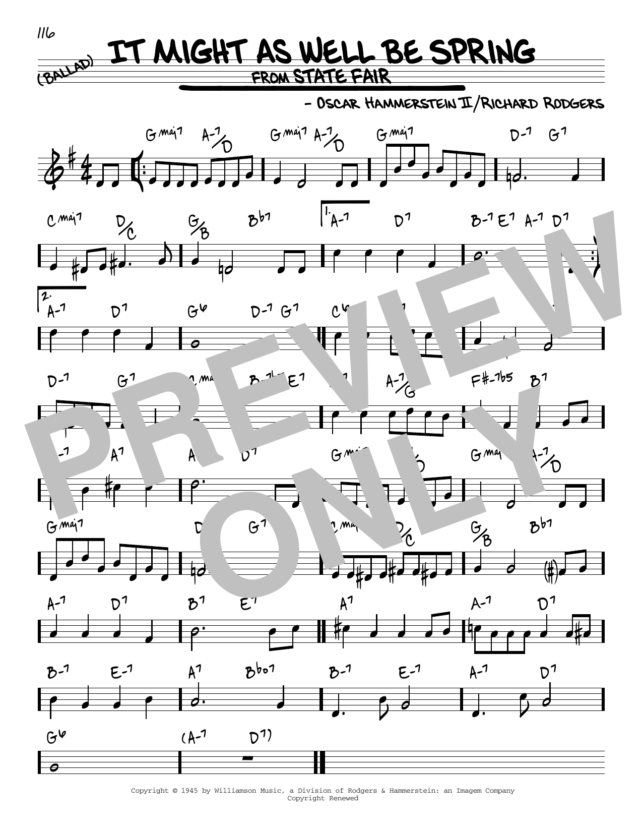 It Might As Well Be Spring (Real Book – Melody & Chords)