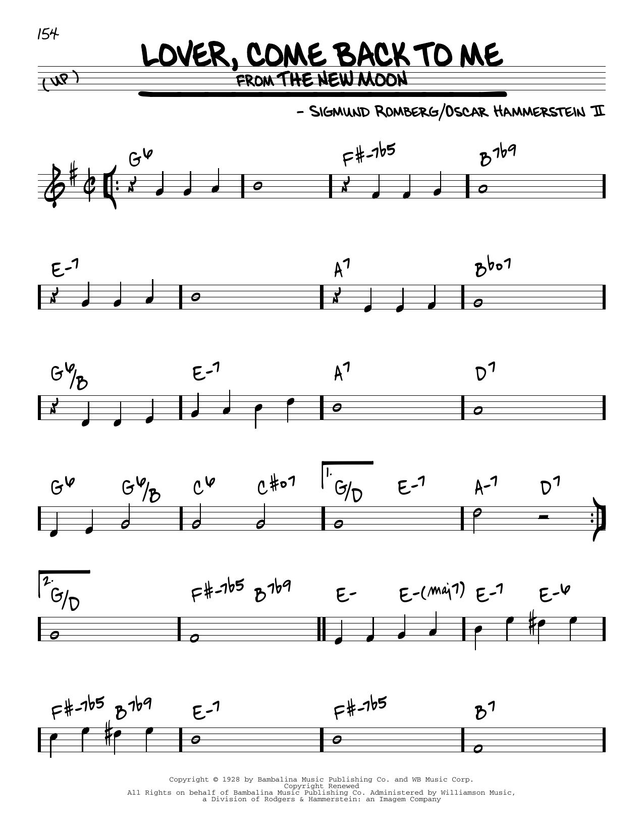 Lover, Come Back To Me Sheet Music
