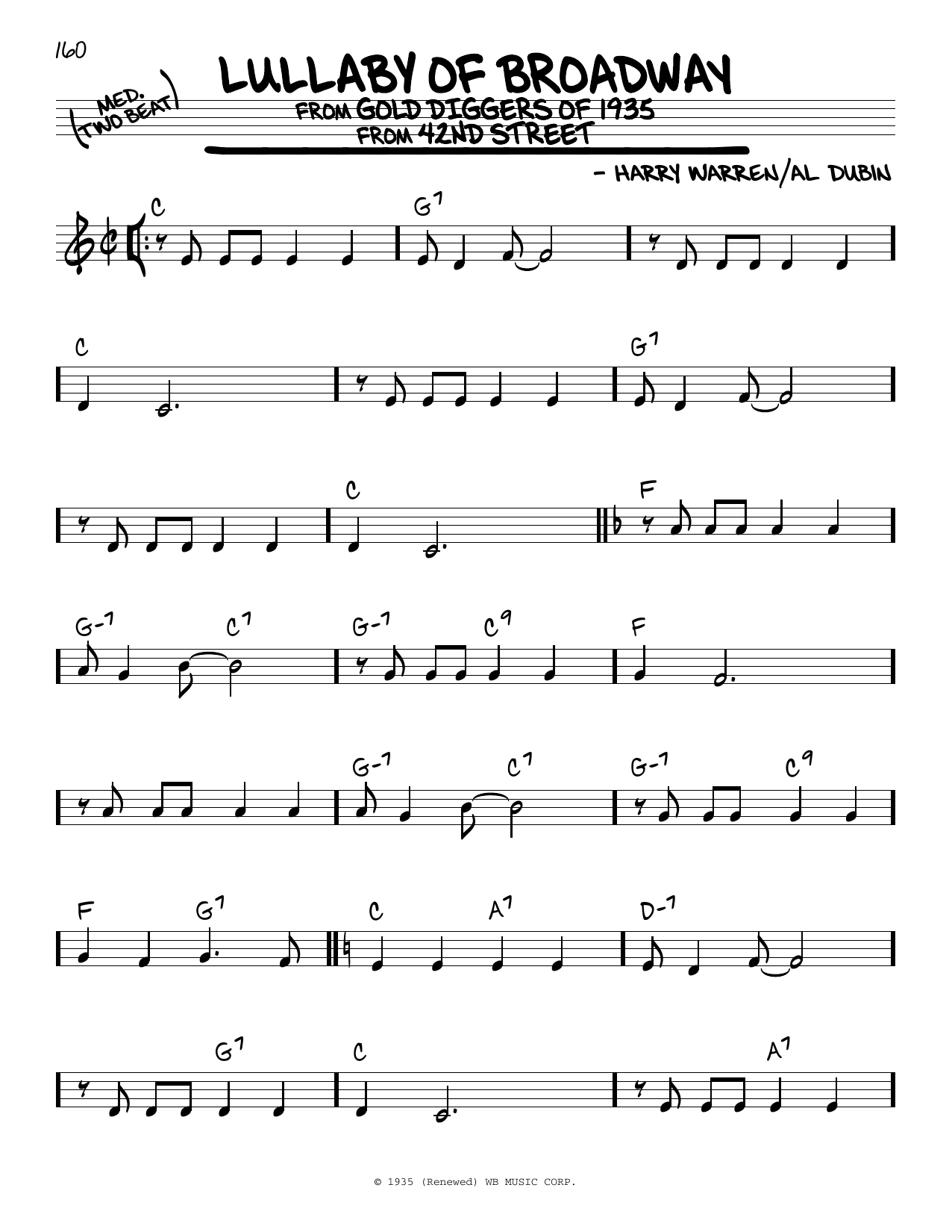 Lullaby Of Broadway Sheet Music