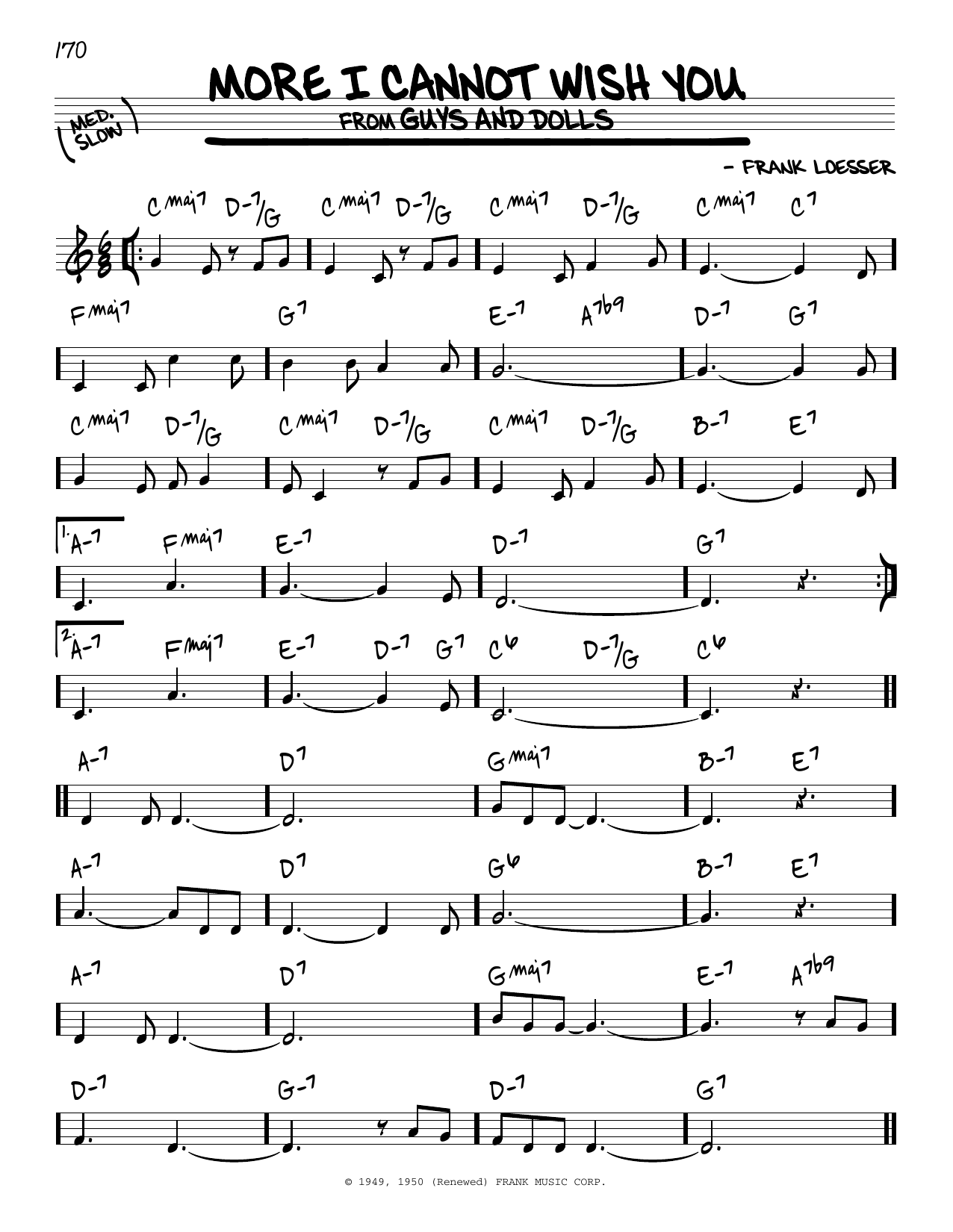 More I Cannot Wish You Sheet Music