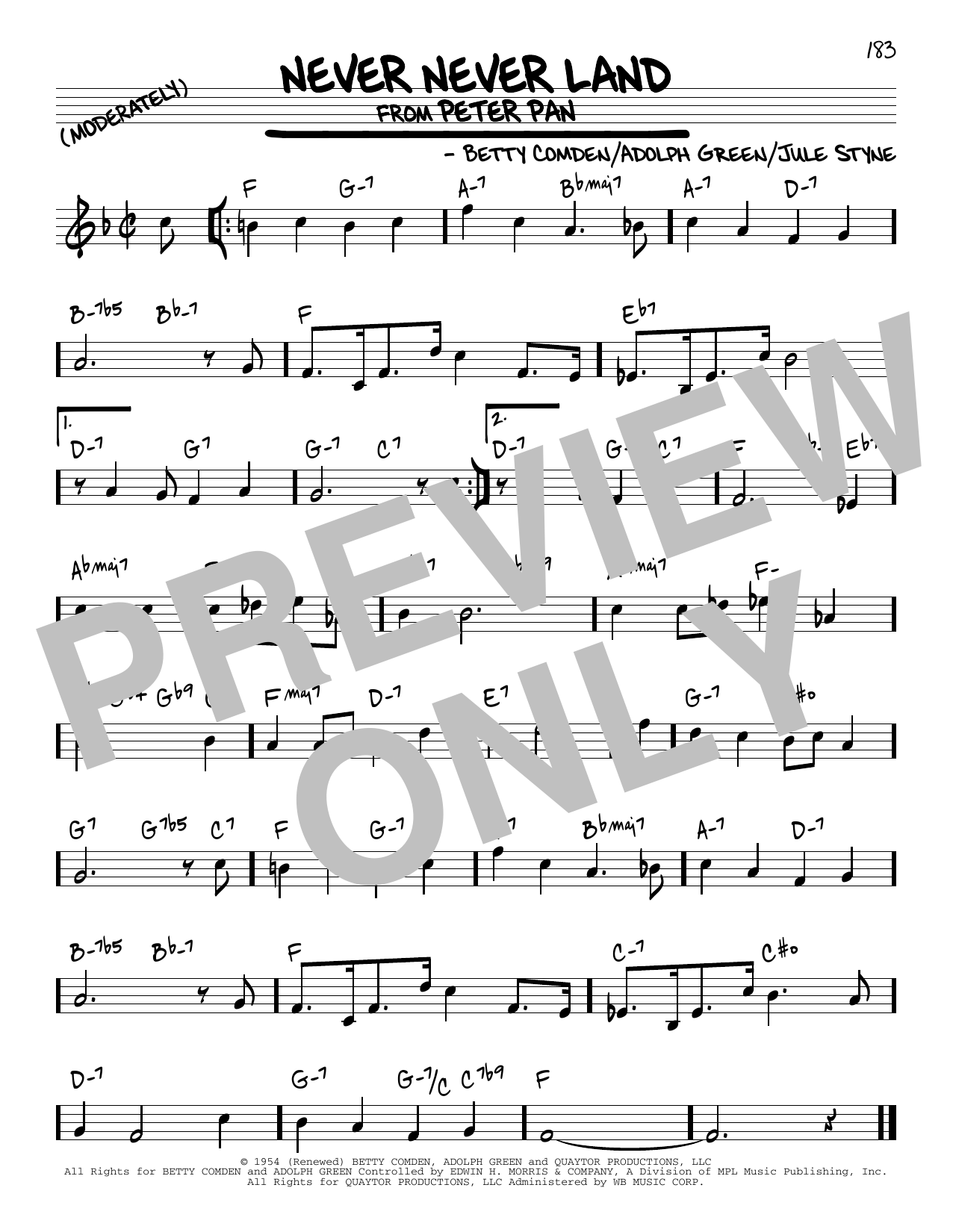 Never Never Land Sheet Music