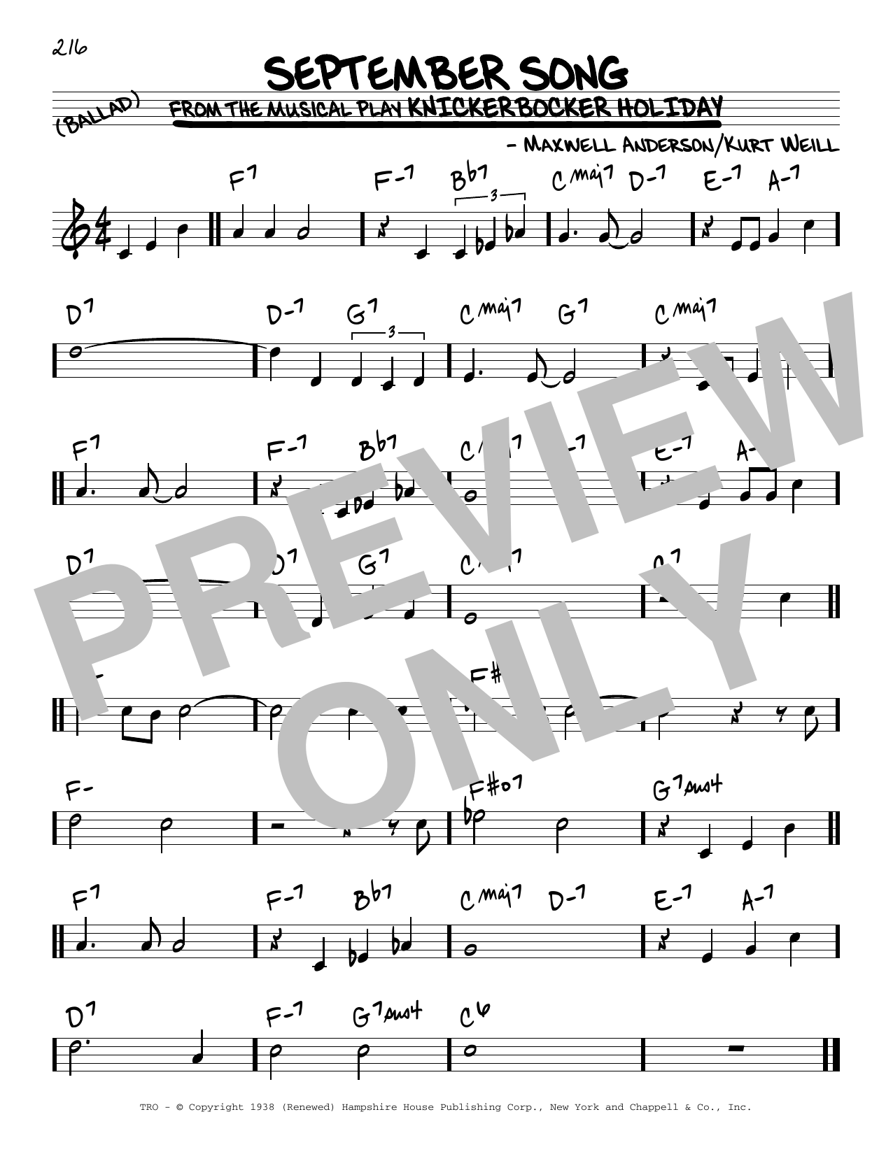 September Song Sheet Music