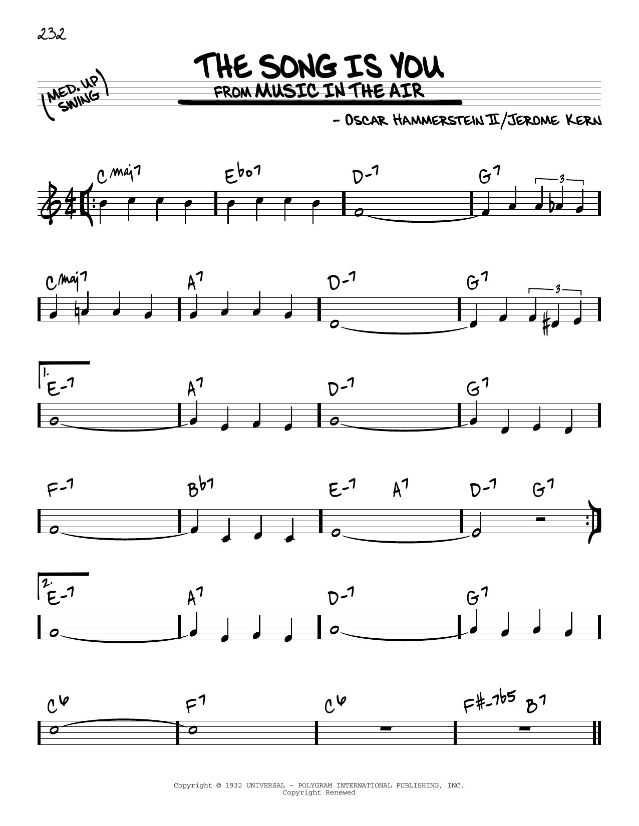 The Song Is You (Real Book – Melody & Chords)