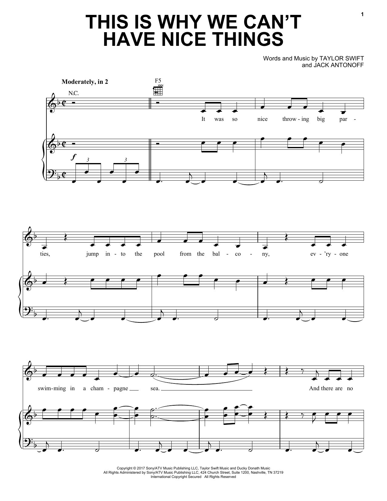 This Is Why We Can't Have Nice Things (Piano, Vocal & Guitar (Right-Hand Melody))